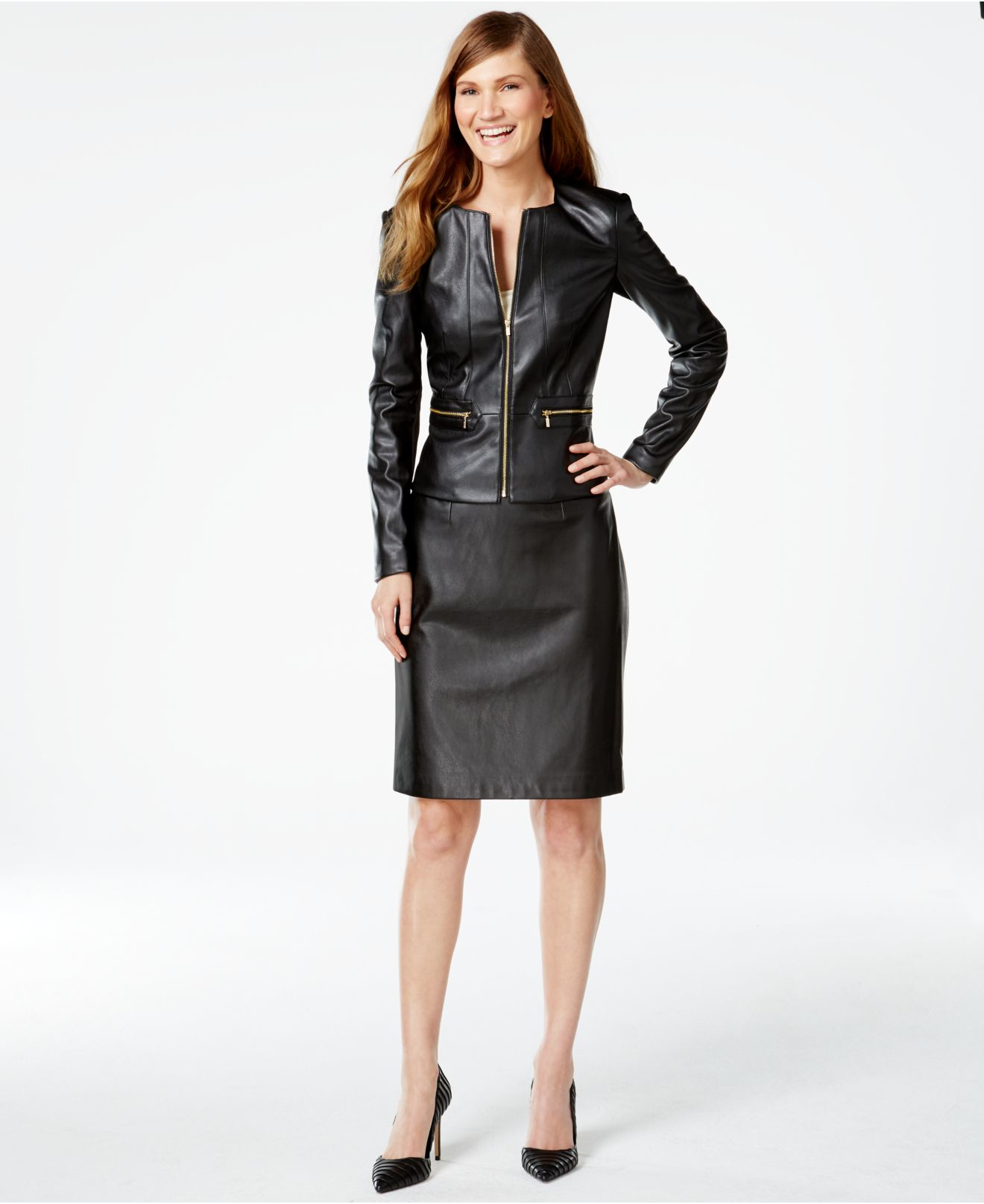 32bf4b107eb Lyst - Calvin Klein Faux-leather Zip-front Jacket in Black