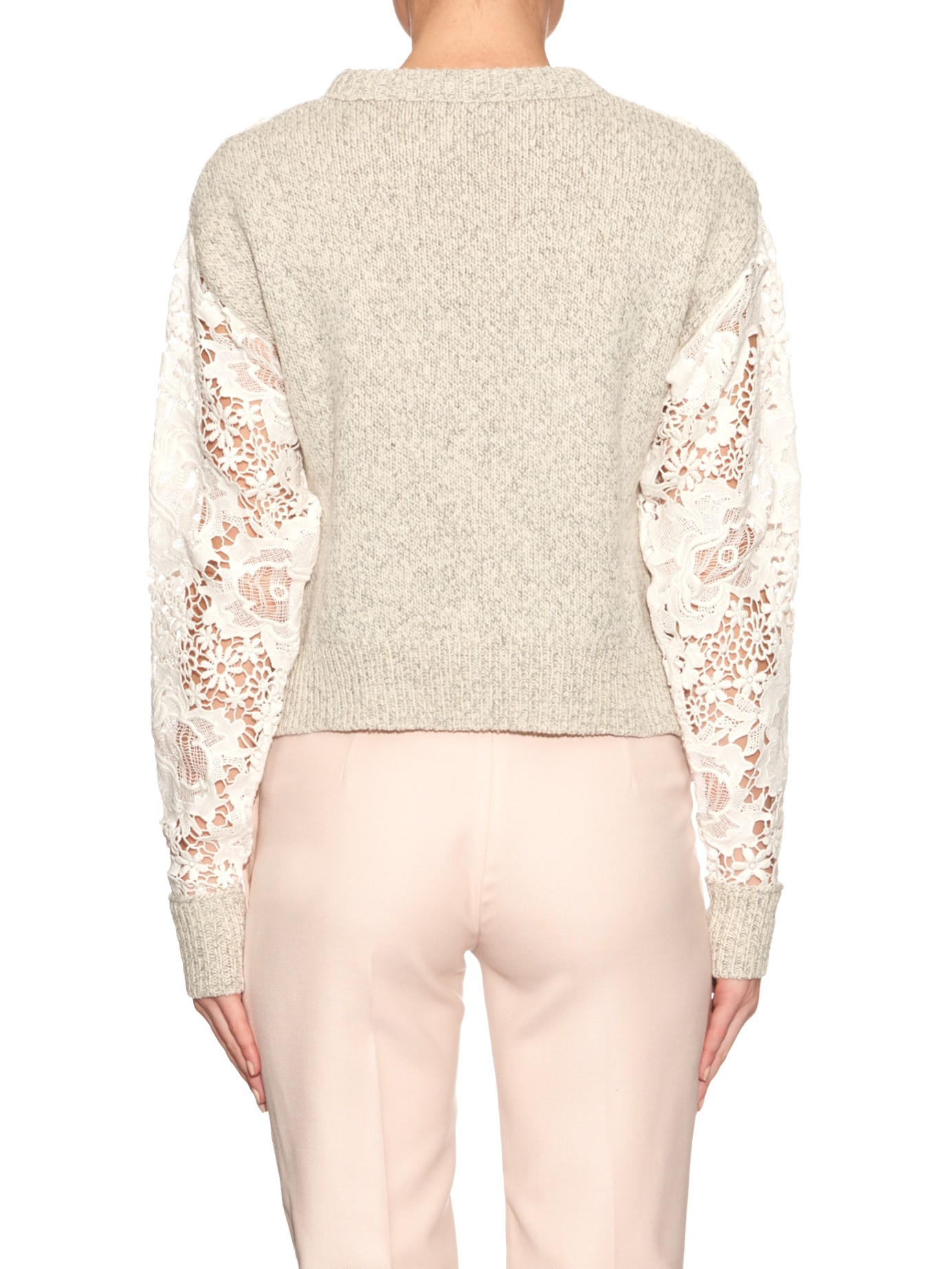 See by chloé Floral-lace And Wool-knit Sweater in White | Lyst