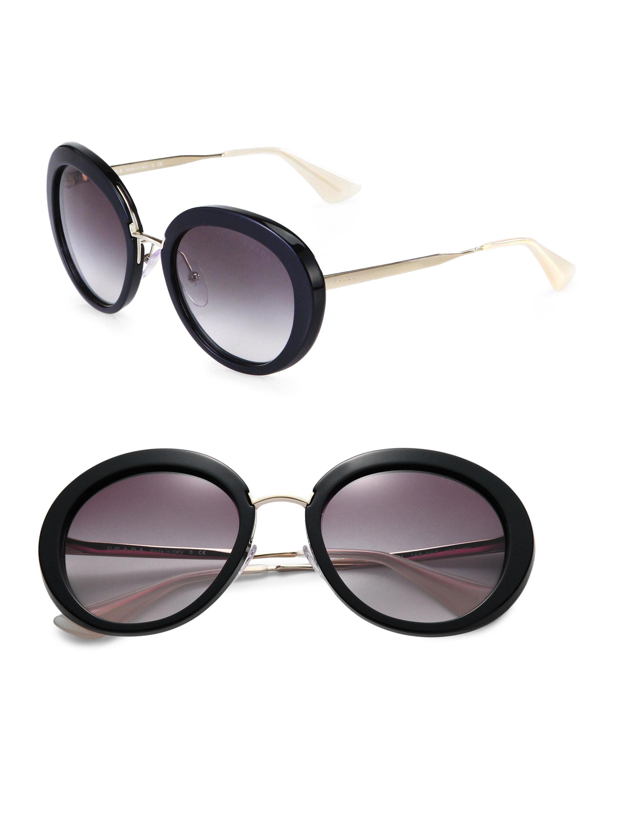 a6f015120e58 ... australia lyst prada round plastic metal sunglasses in black e7ad3 2077a