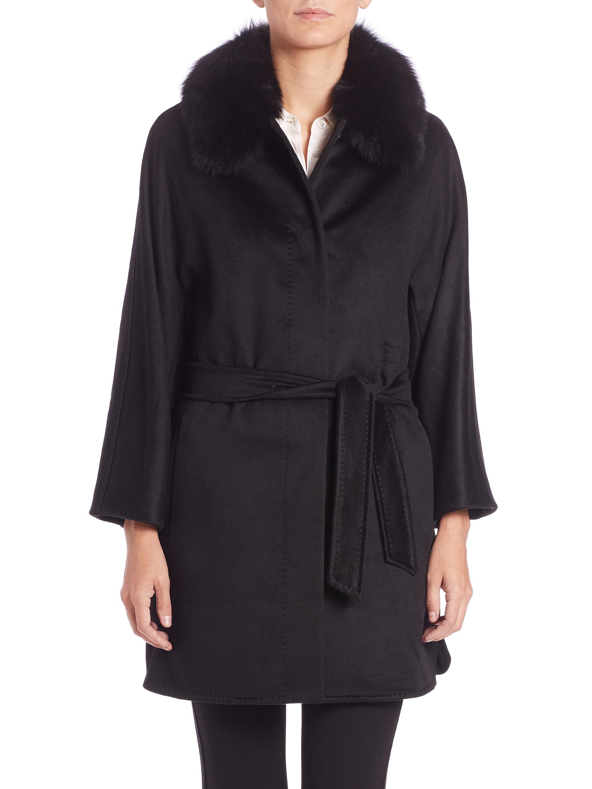 Max mara studio Donata Fur-collar Cashmere Belted Coat in Black | Lyst