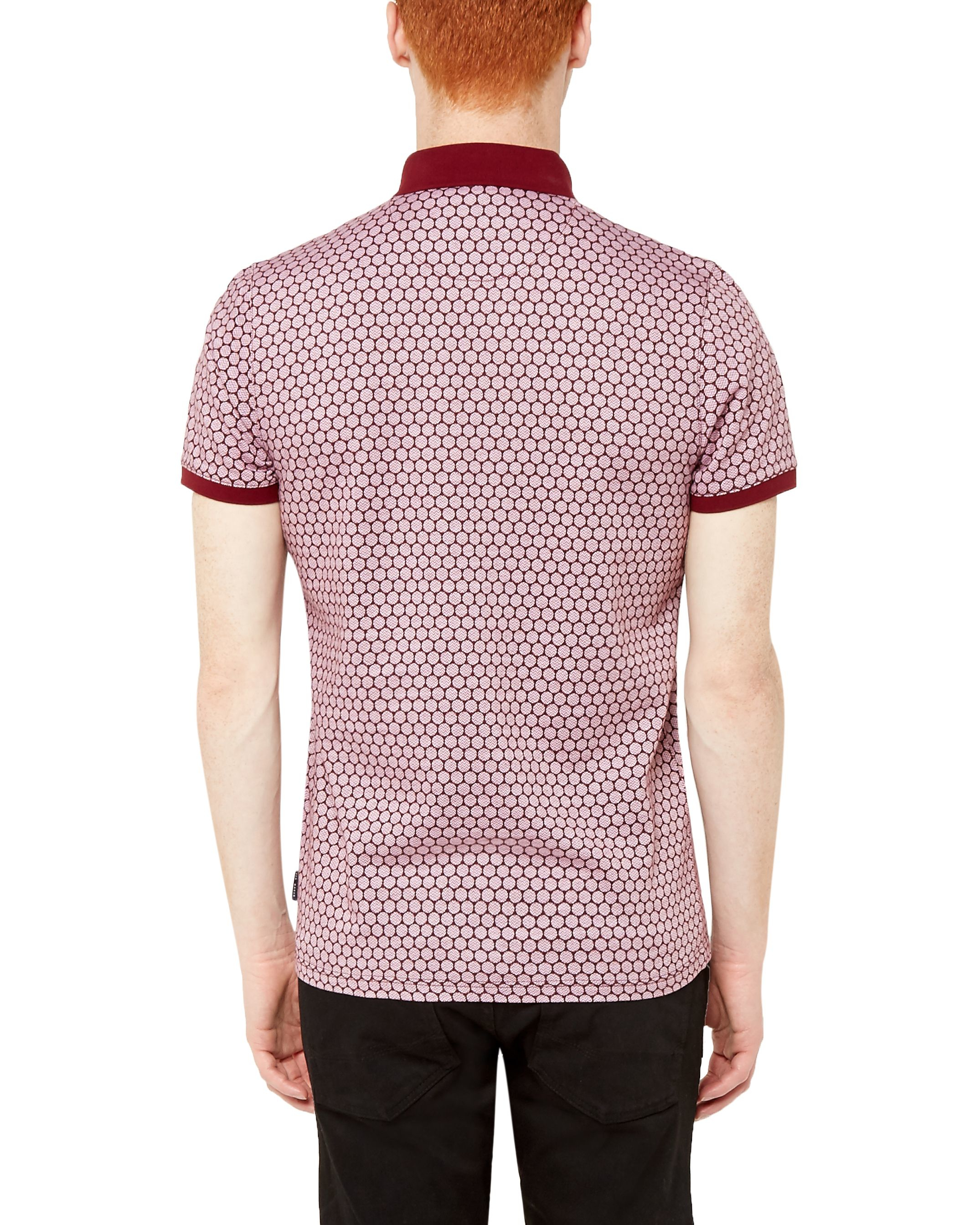 Lyst ted baker spot print polo shirt in pink for men for Ted baker mens polo shirts