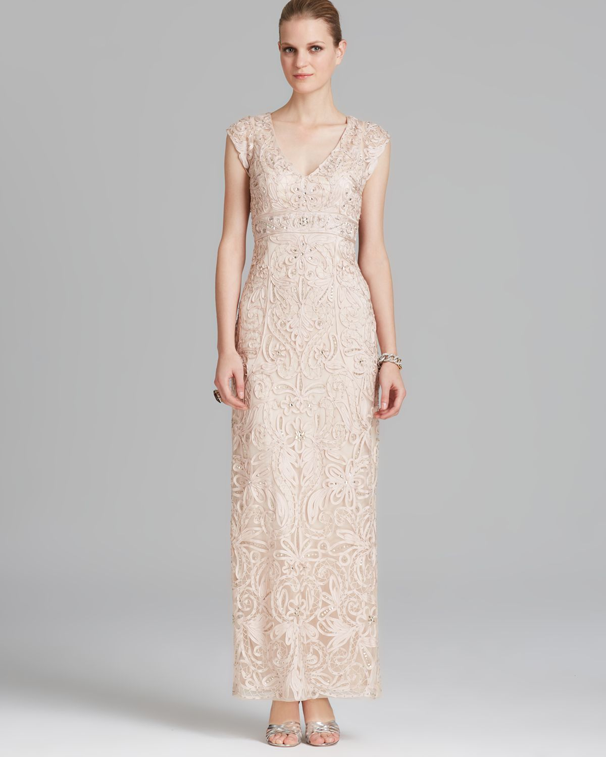 Lyst - Sue Wong Gown Cap Sleeve Soutache in Natural