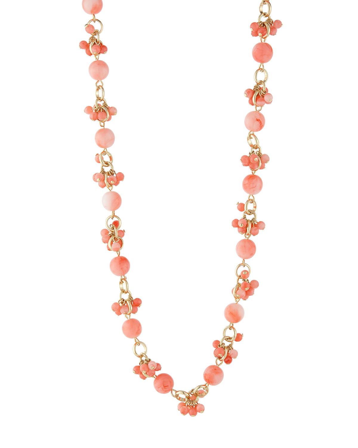 fragments mini beaded cluster necklace in pink lyst