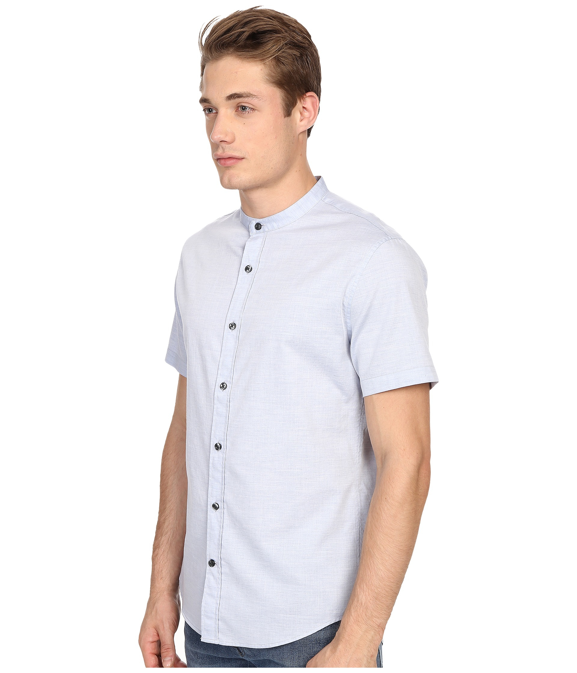 Mens Collarless Banded Collar Dress Shirt Bcd Tofu House