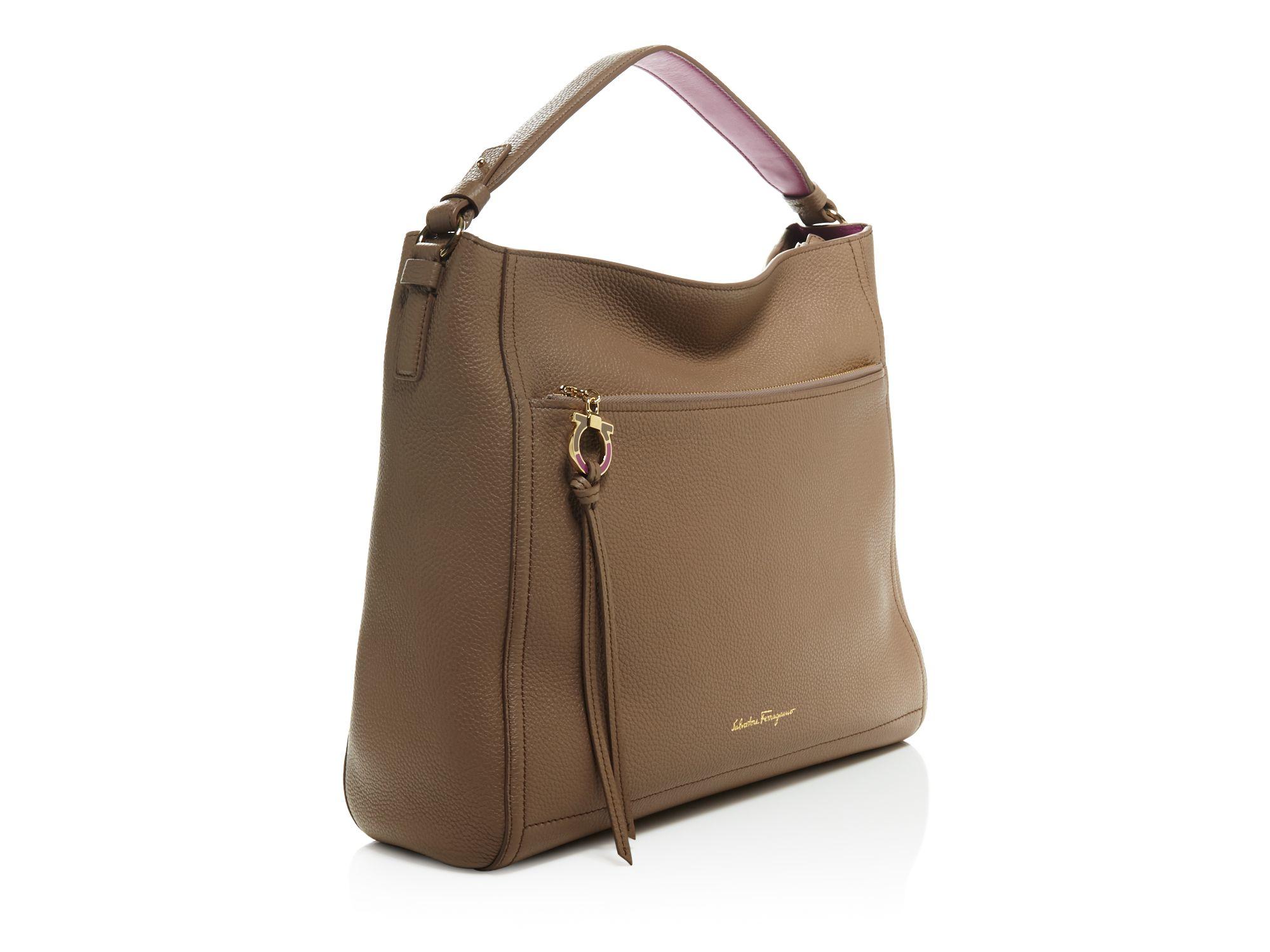 Lyst - Ferragamo Large Ally Shoulder Bag in Brown 7c89a1409b467