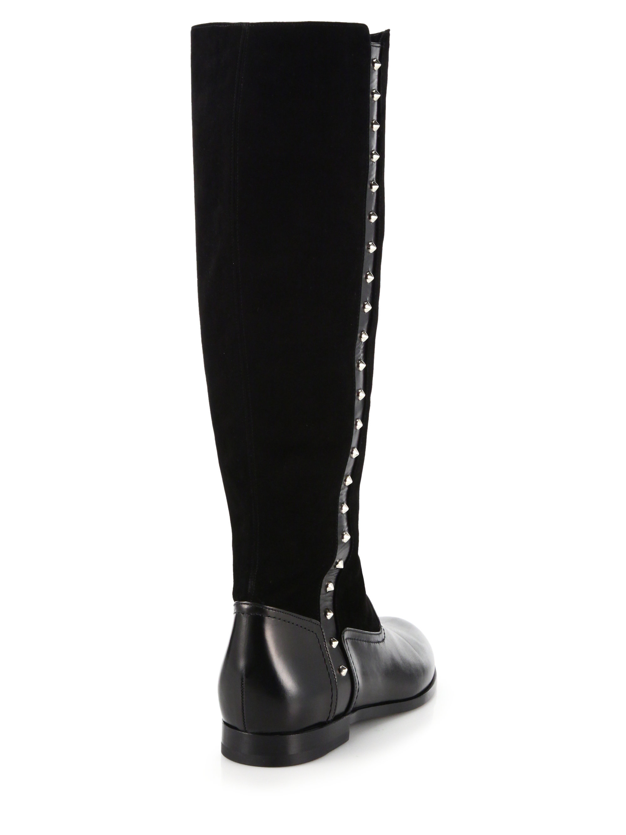 Alexander mcqueen Studded Leather & Suede Knee-high Boots in Black ...