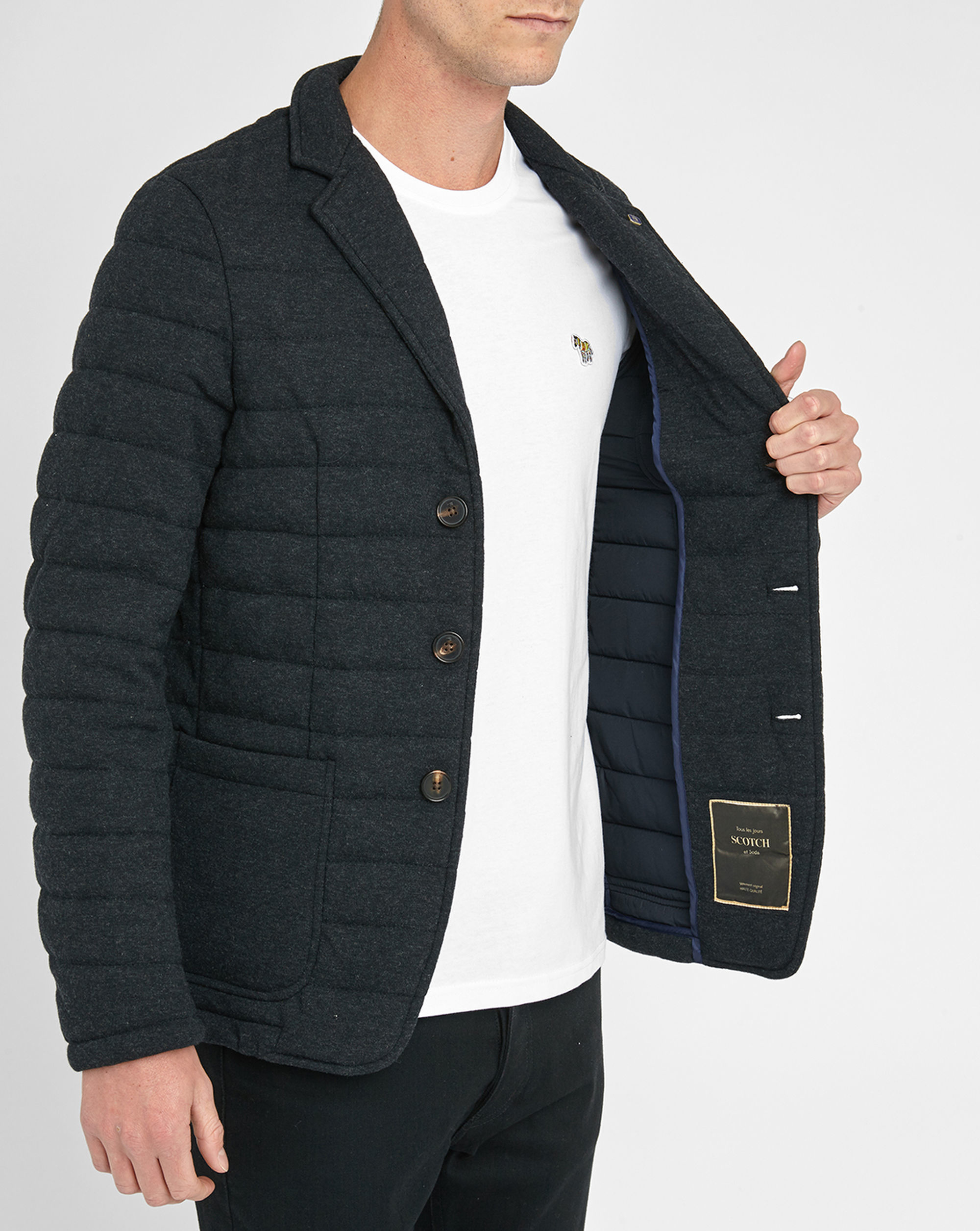 Scotch Soda Charcoal 3 Button Quilted Wool Jacket In
