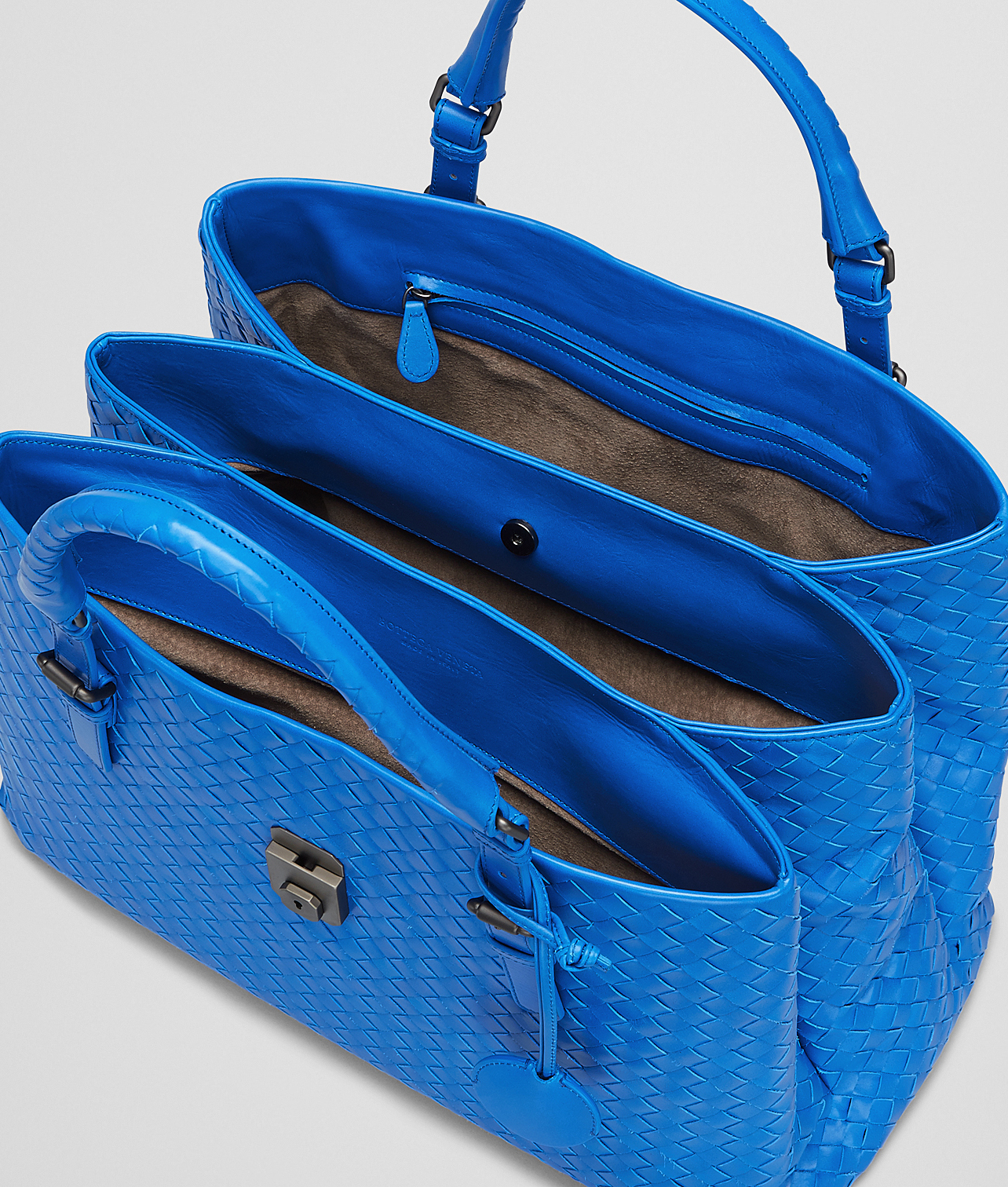 Lyst - Bottega Veneta Signal Blue Intrecciato Light Calf Roma Bag in ... 89d71c89e4fa6