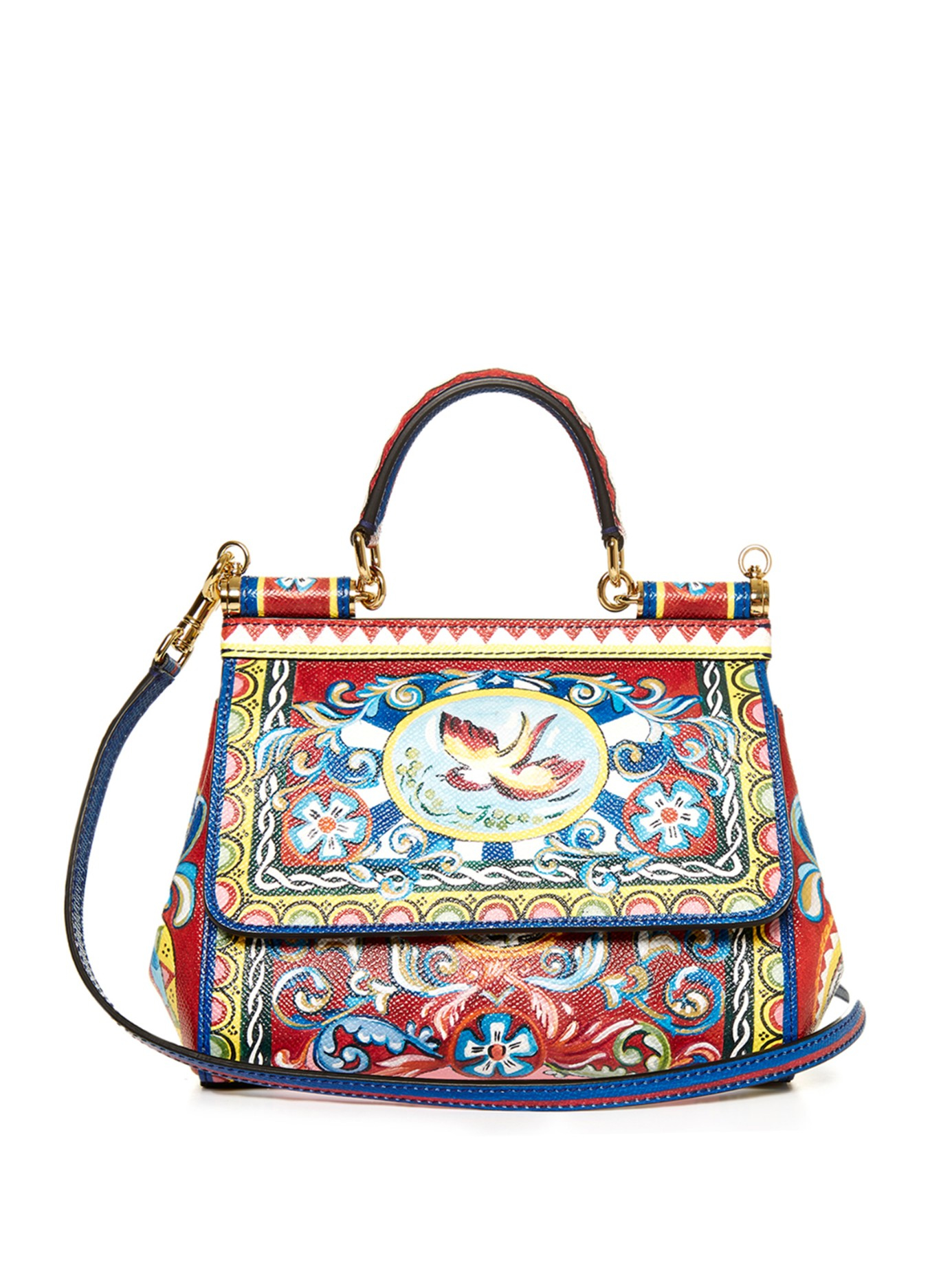 2f0ccf525b3d Dolce   Gabbana Sicily Small Carretto-Print Shoulder Bag in Red - Lyst