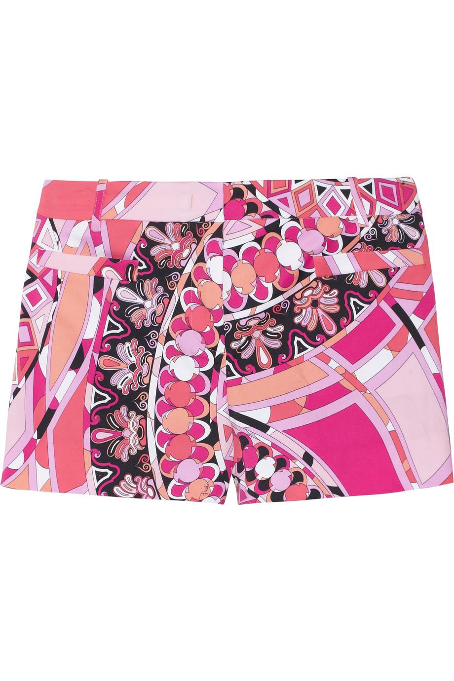 bcd58e79e59d Lyst - Emilio Pucci Printed Stretchcotton Shorts in Pink