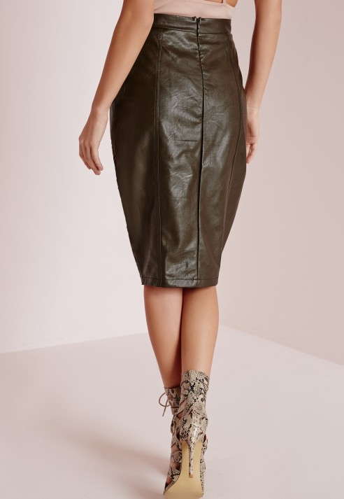 Missguided Faux Leather Pocket Pencil Skirt Khaki in Green | Lyst
