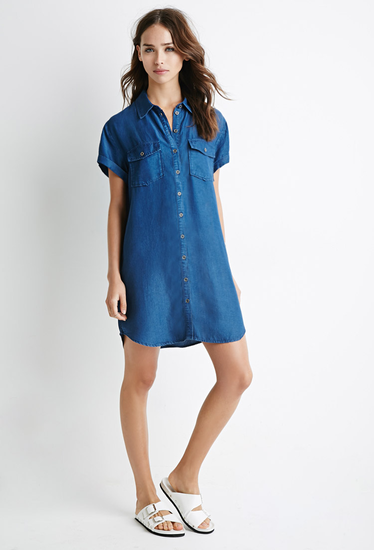 Moto utility denim t shirt dress