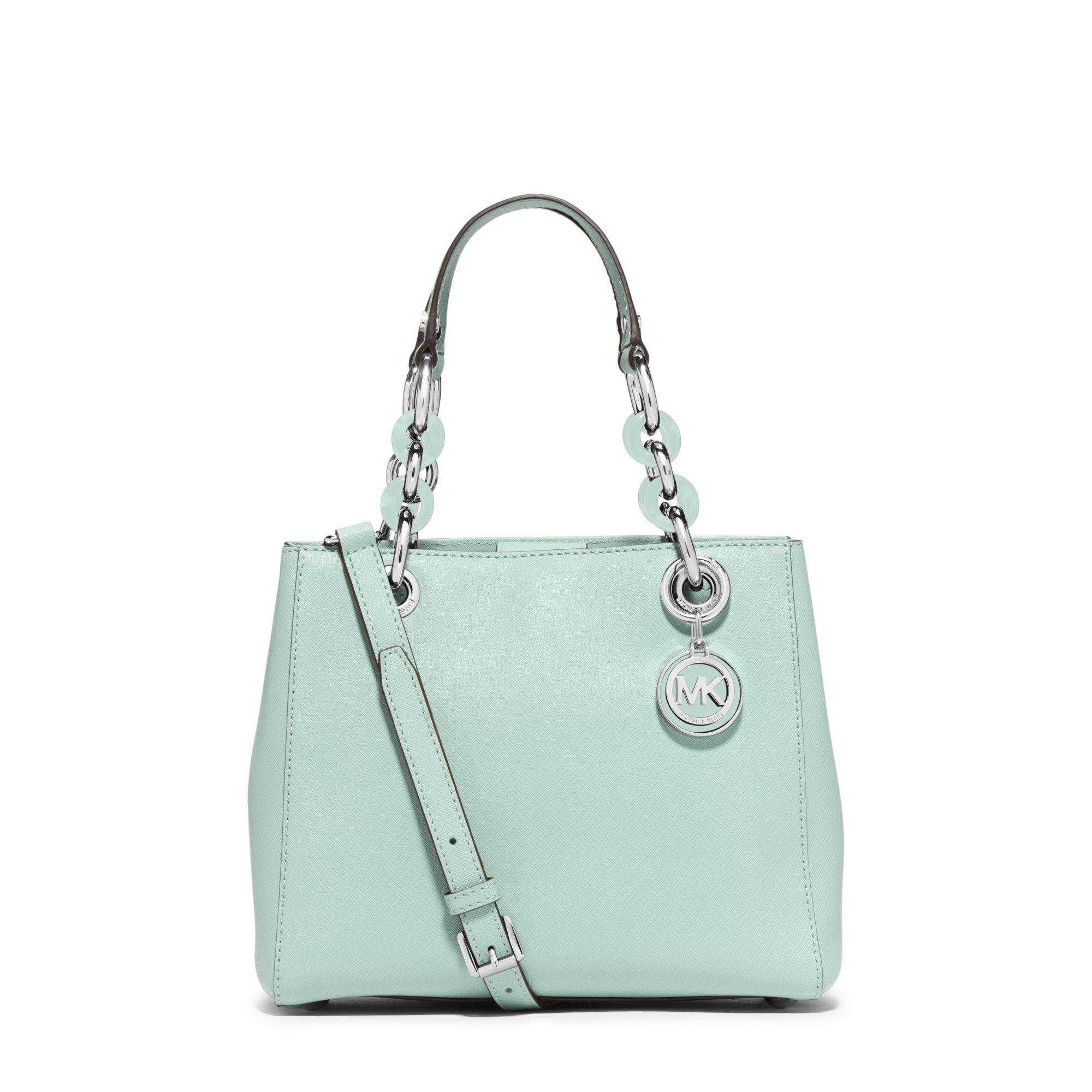 846f52a8ee139 Lyst - Michael Kors Cynthia Small Saffiano Leather Satchel in Green