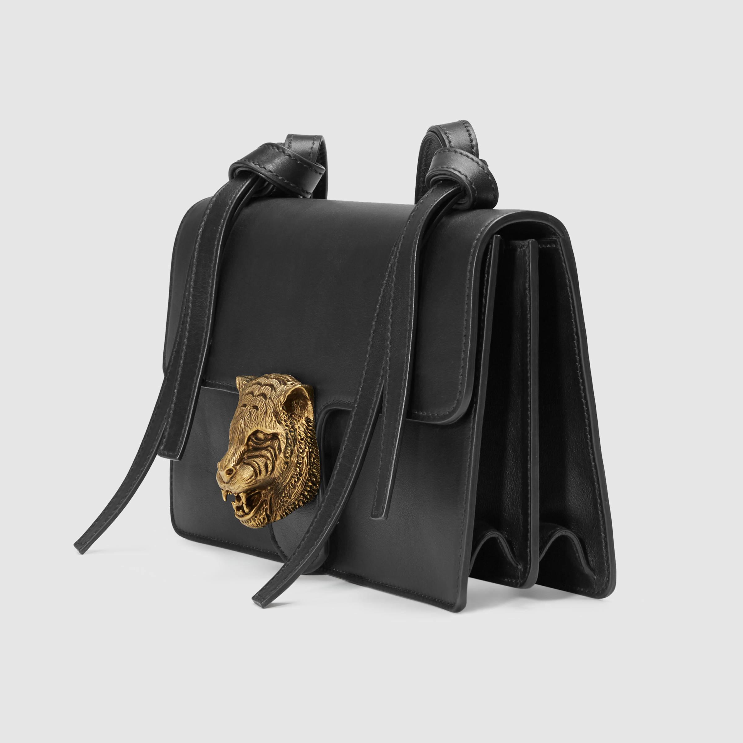 703d376d2c9 Gucci Animalier Leather Shoulder Bag in Black - Lyst