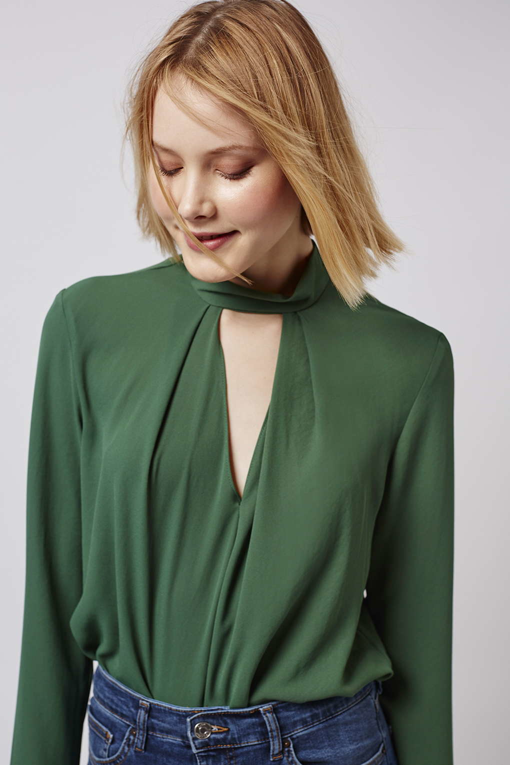 depths drapes neck ann tops lyst gallery in taylor normal product top crepe blue drape clothing petite
