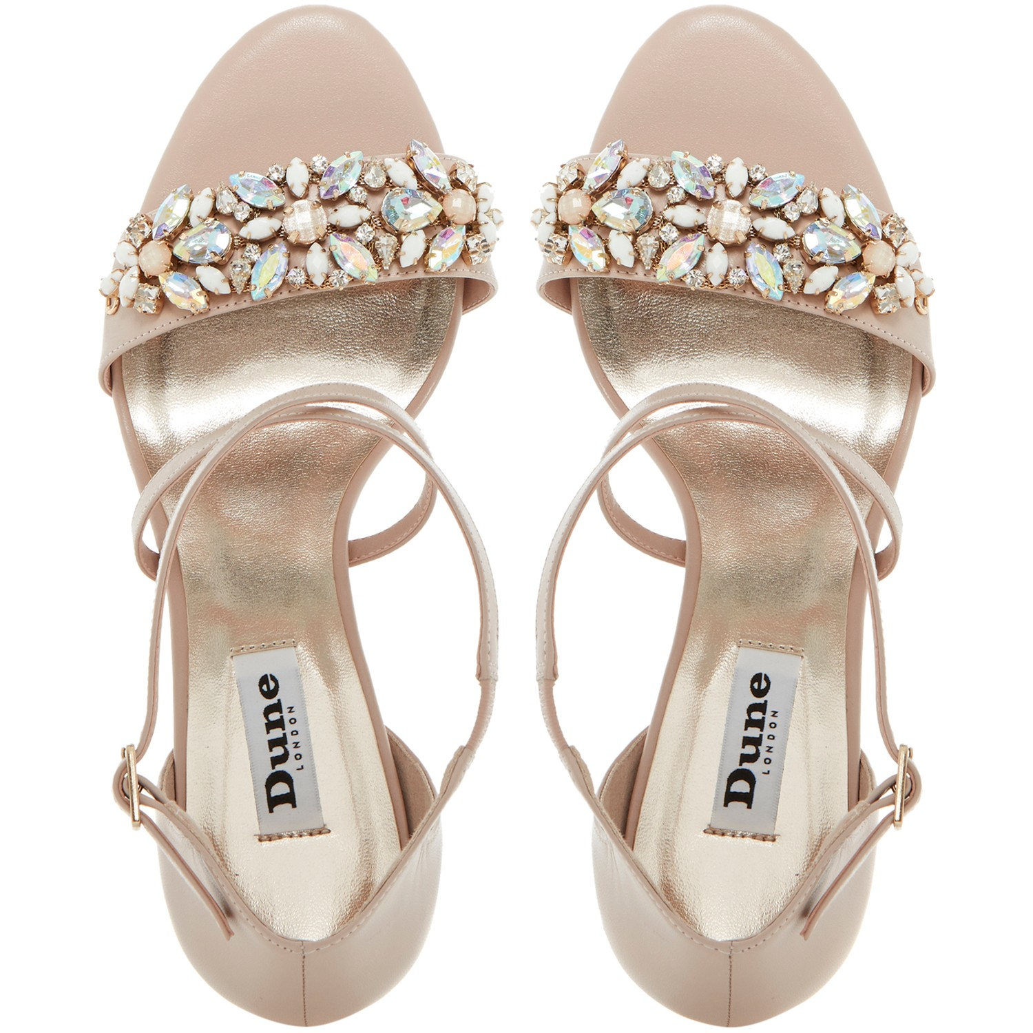 8abe30795 Dune Mollee Strappy Heeled Gem Strap Leather Sandals in Pink - Lyst