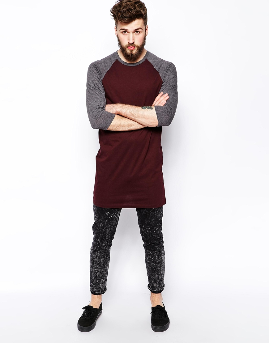 Asos 3 4 sleeve t shirt with contrast raglan sleeves in for Long length long sleeve t shirts