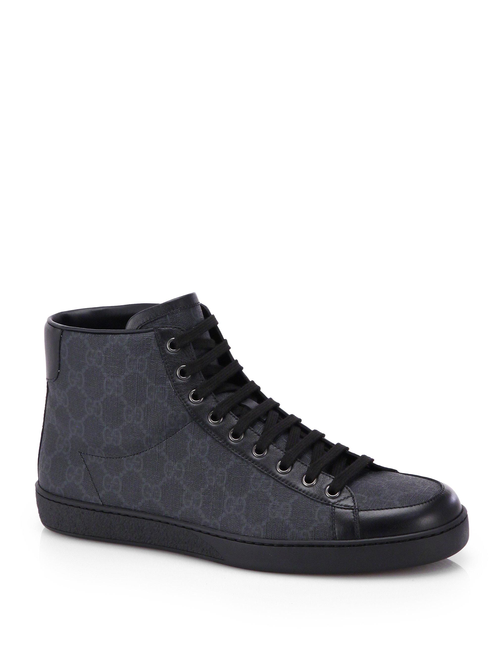 gucci gg supreme canvas high top sneaker in black for men. Black Bedroom Furniture Sets. Home Design Ideas