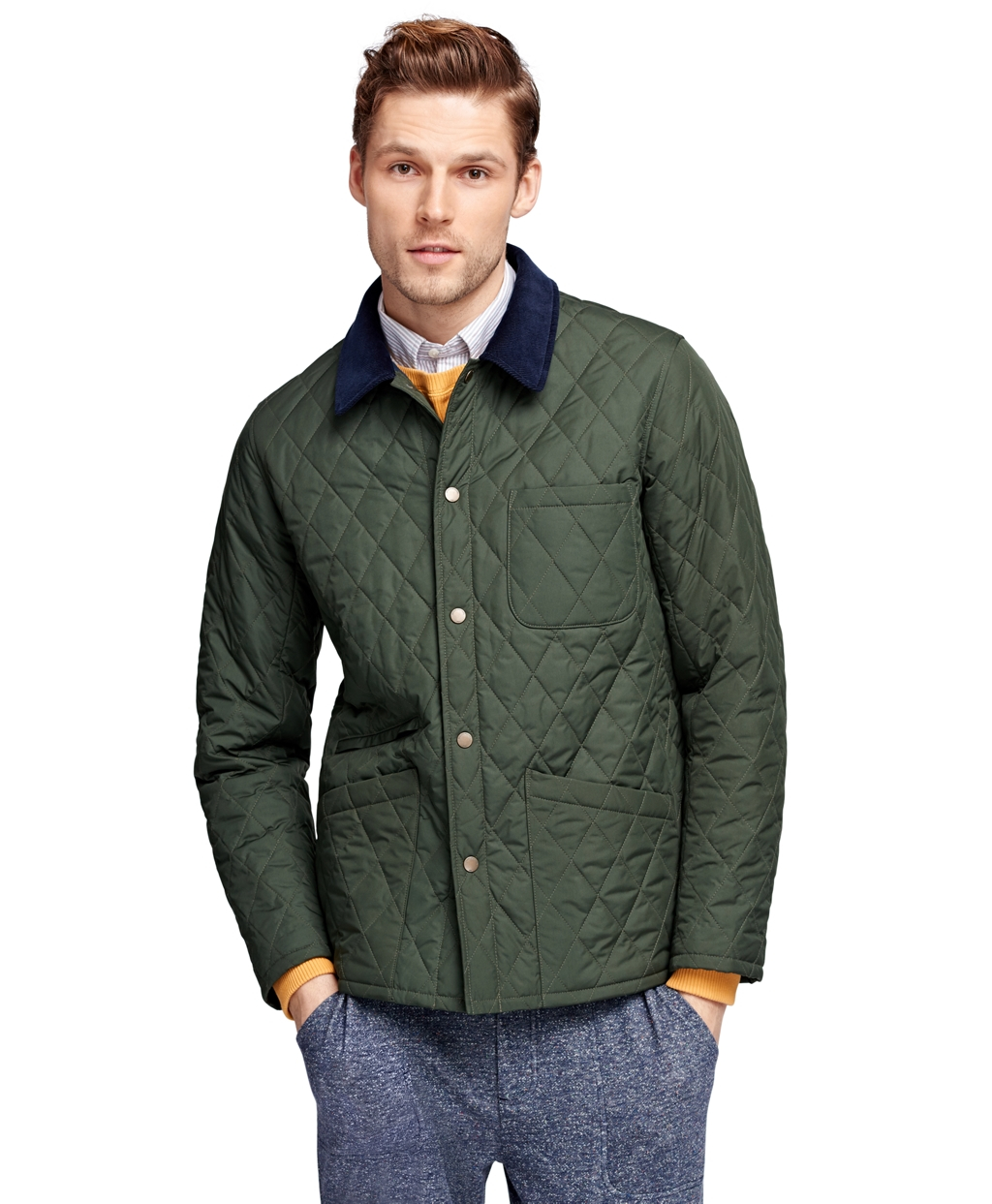Brooks brothers Quilted Jacket in Green | Lyst