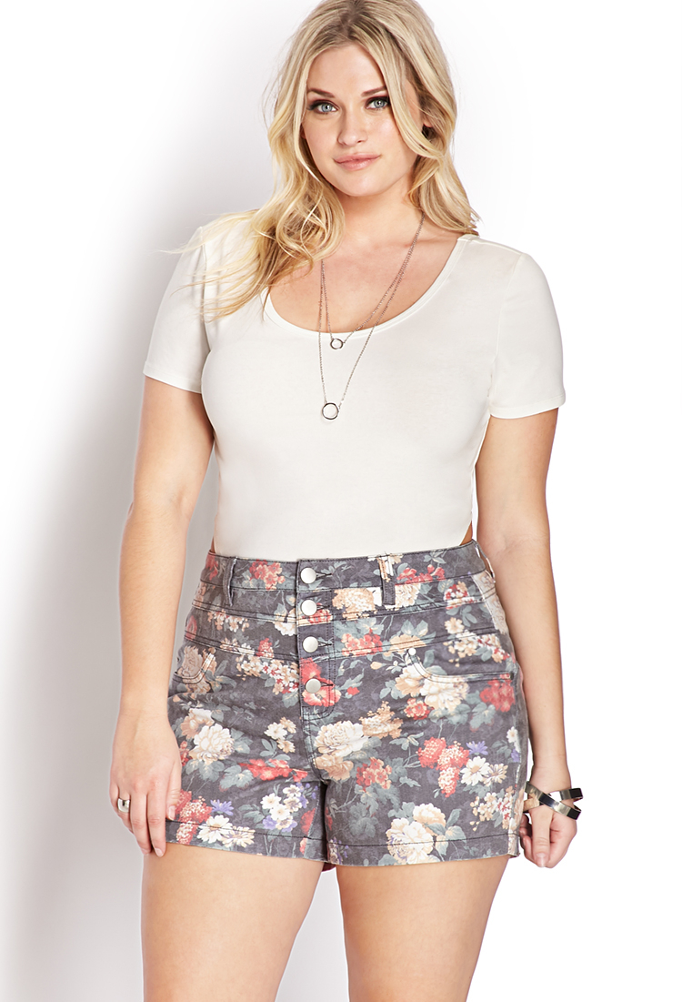 Forever 21 Fantasy Floral High-waisted Shorts - Lyst