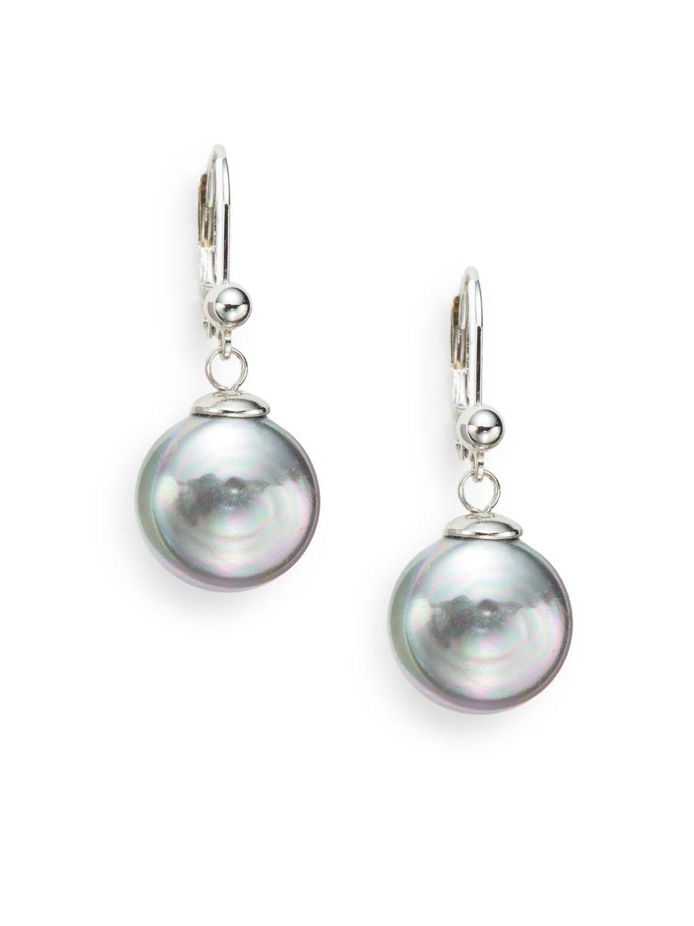 Majorica Pearl-Drop Silver Knot Earrings LZPP7xy