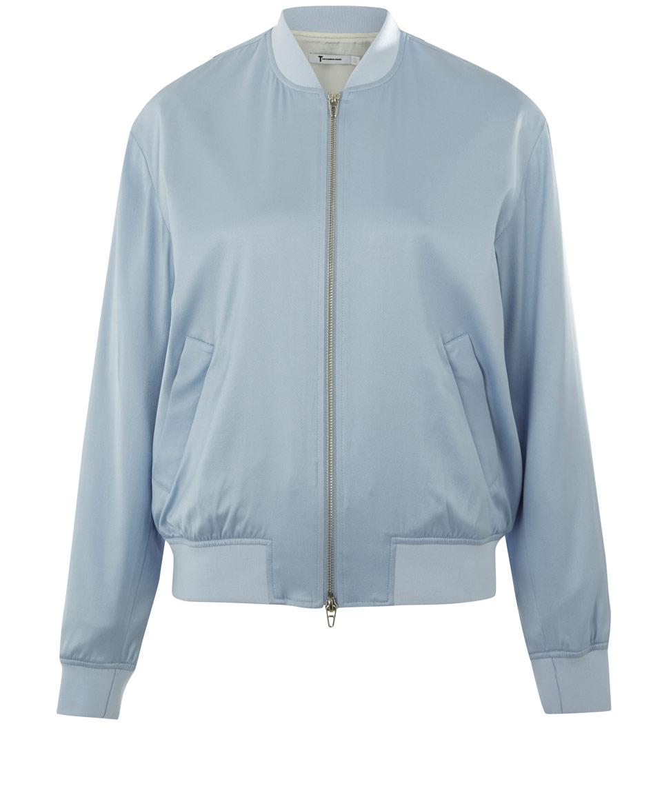 Lyst - T By Alexander Wang Light Blue Silk-blend Twill Bomber Jacket in Blue