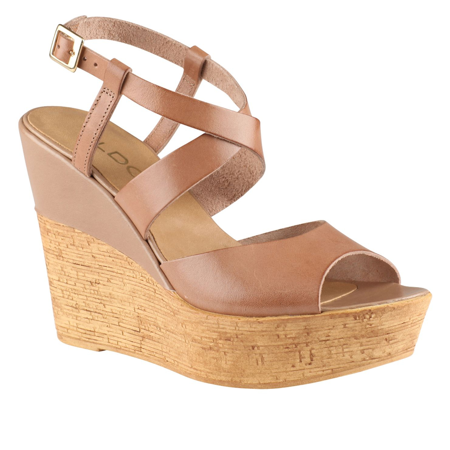 aldo dradolle ankle wedge sandals in brown taupe