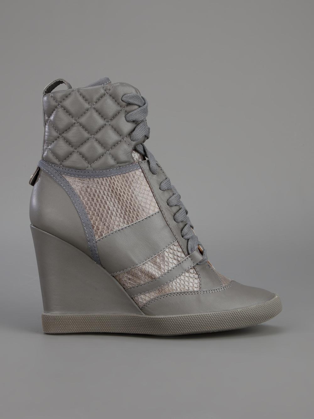 chlo wedge heel sneaker in gray lyst. Black Bedroom Furniture Sets. Home Design Ideas