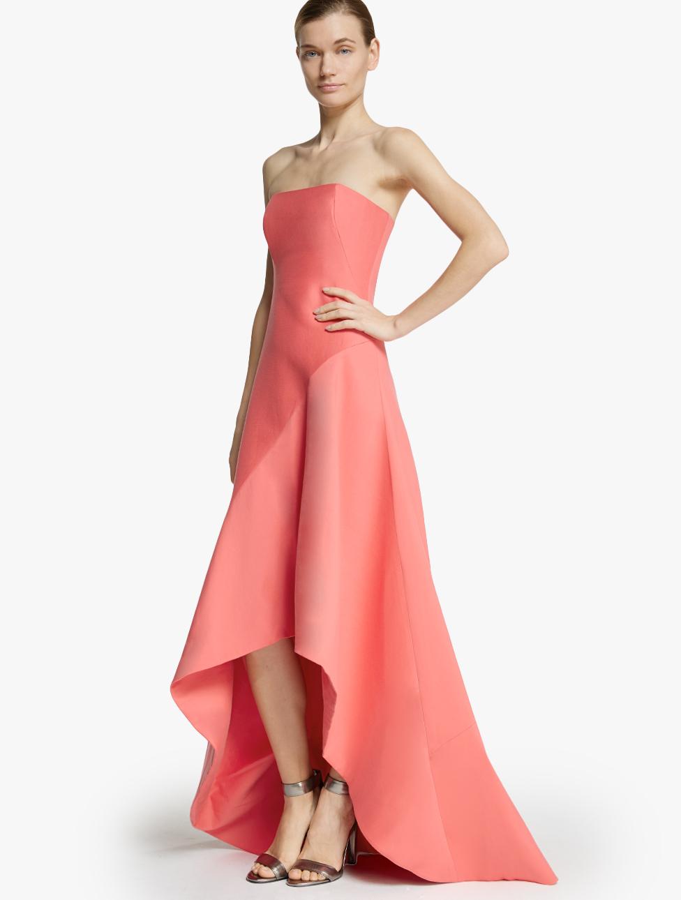 Lyst Halston Strapless Silk Faille Gown In Pink