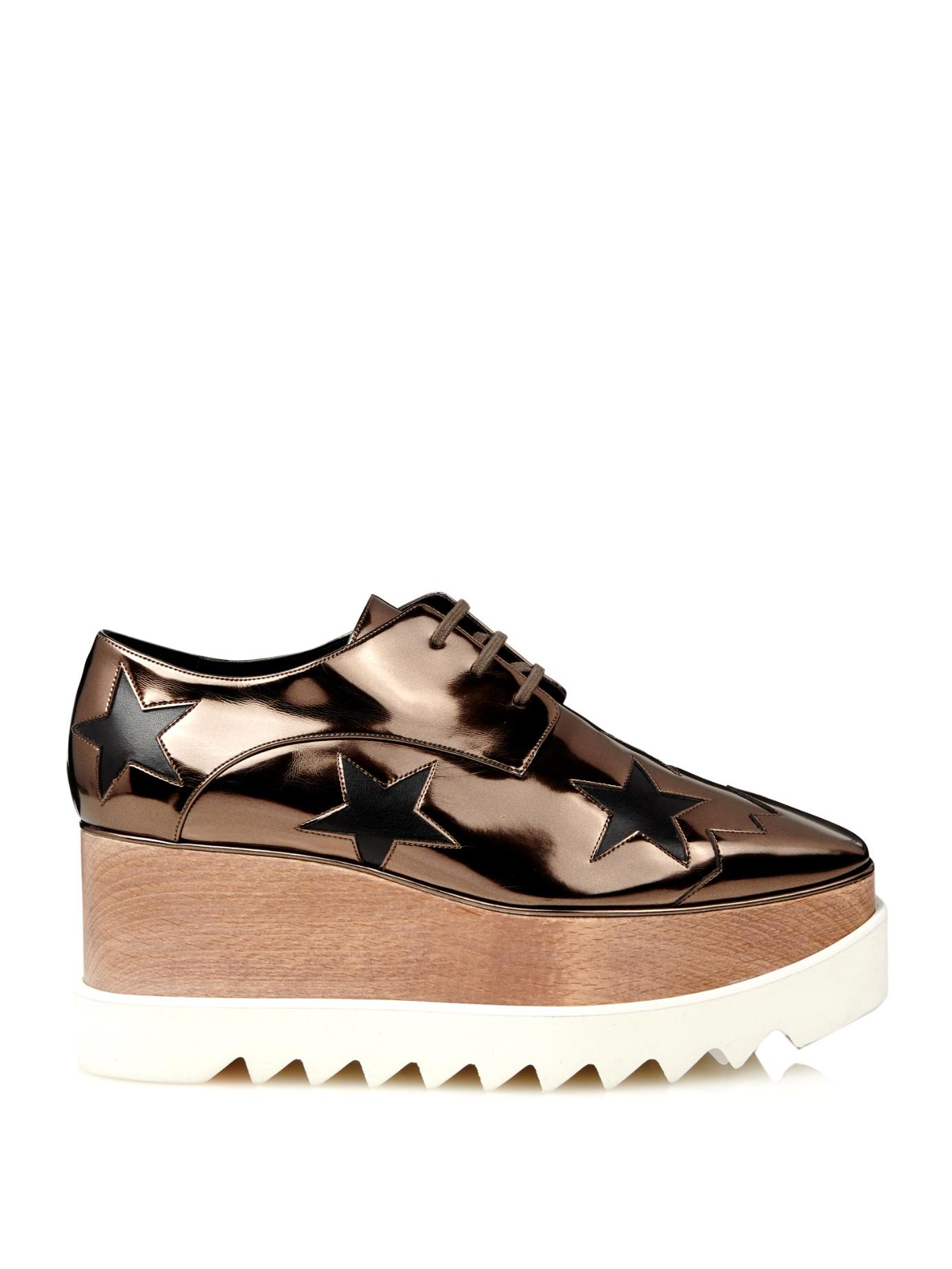 Stella mccartney Elyse Metallic Lace-Up Platform Shoes in Metallic ...
