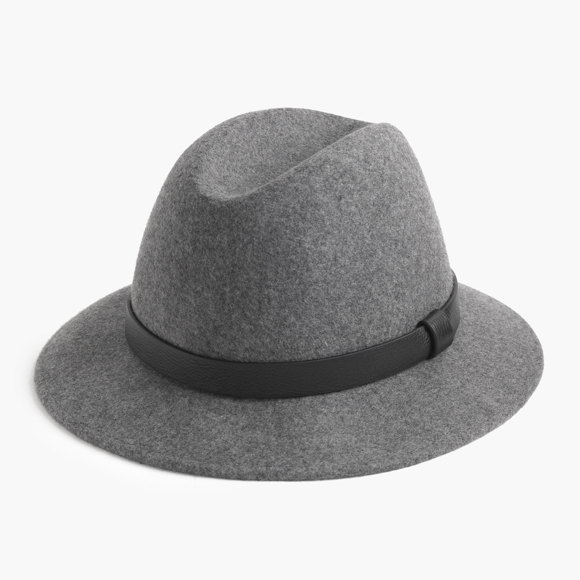 j crew classic felt hat with leather band in gray lyst