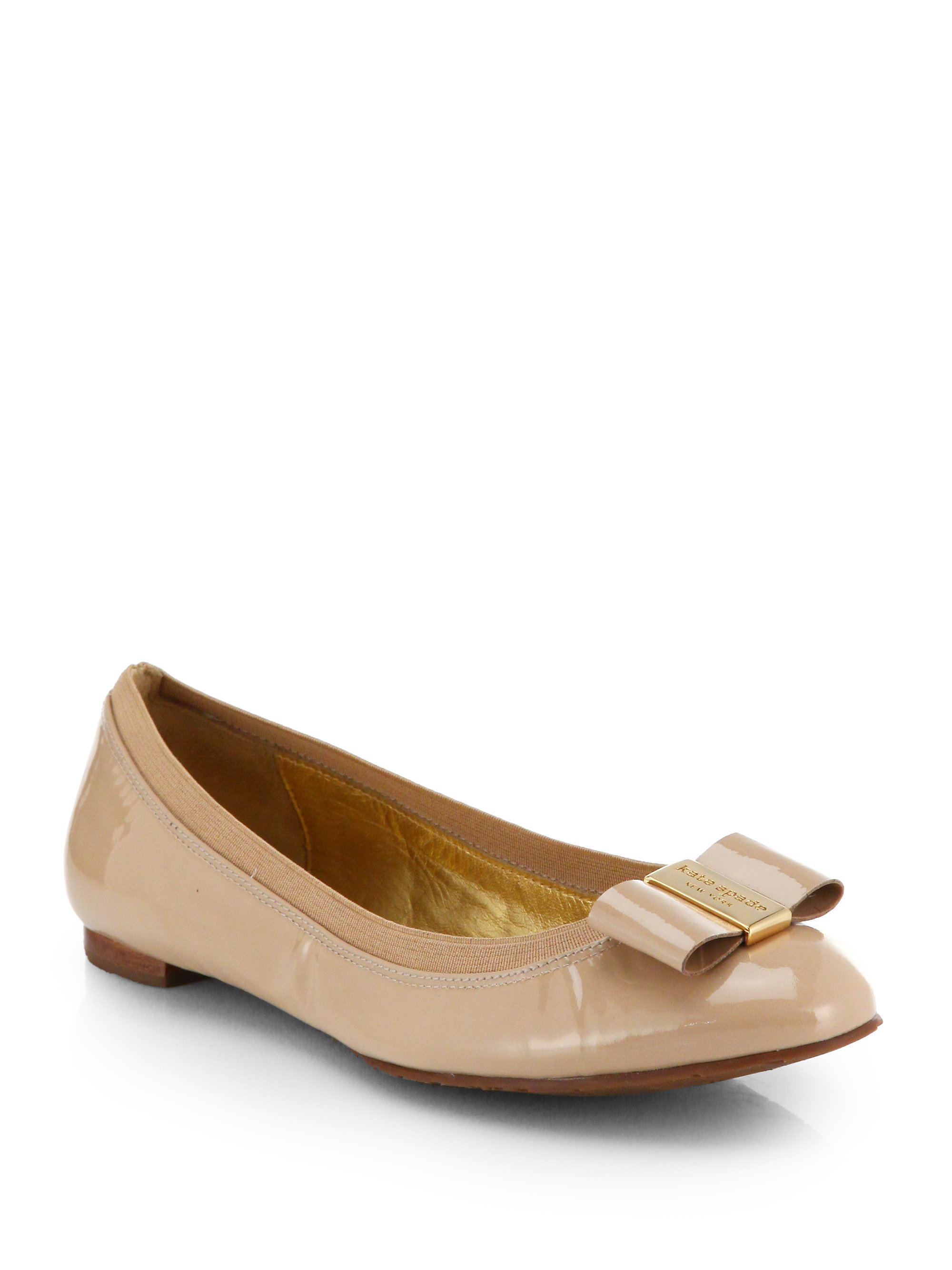 4f1e925ee2ce Lyst - Kate Spade Tock Patent Leather Bow Ballet Flats in Natural