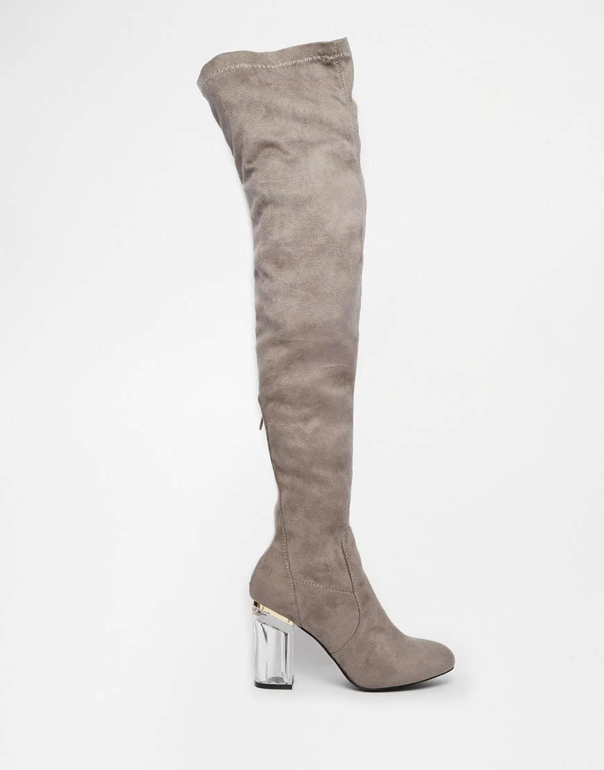 8beb624a72 Public Desire Keira Clear Heel Over The Knee Boots in Gray - Lyst