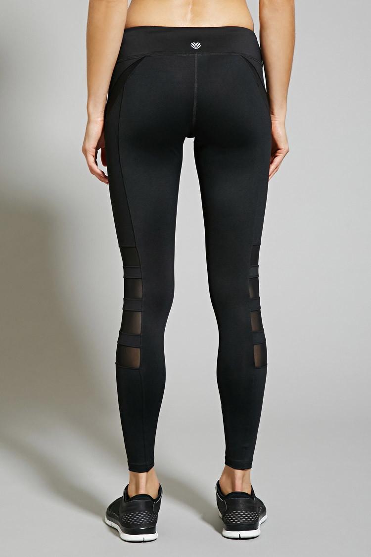 Lyst Forever 21 Active Mesh Paneled Leggings In Black