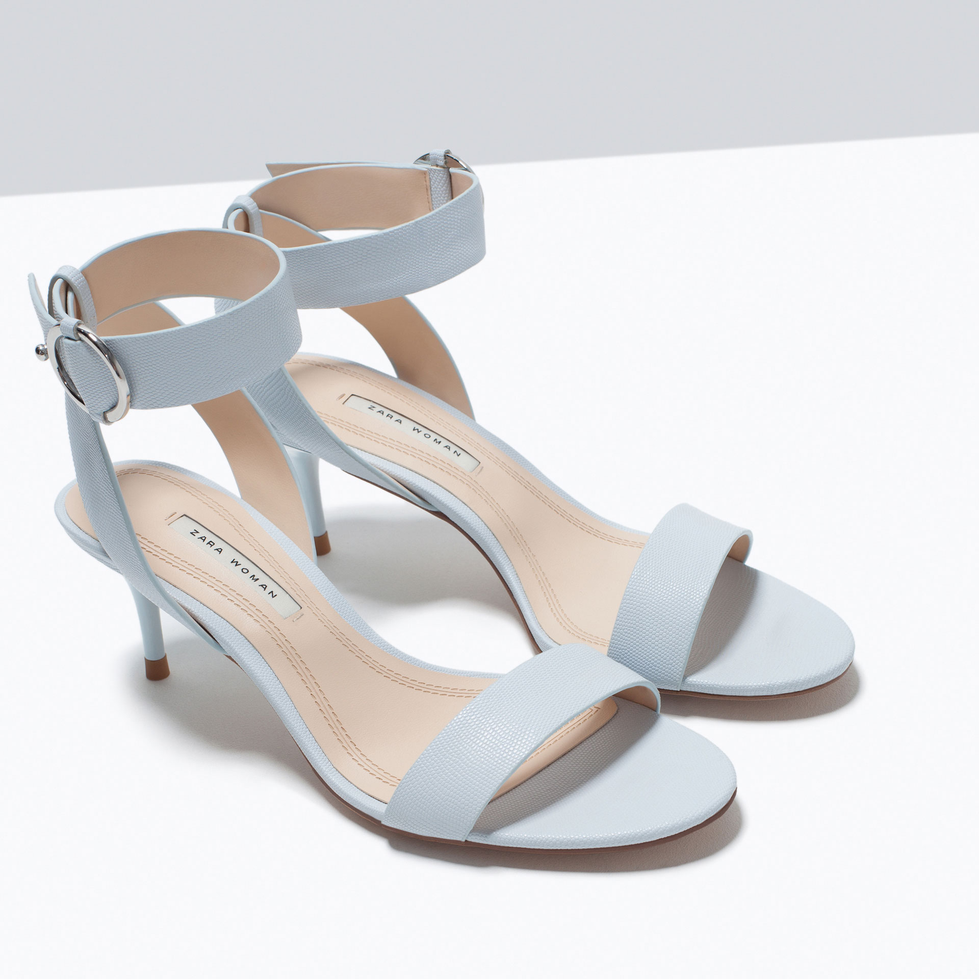 Zara Mid-Heel Sandals With Ankle Strap Mid-Heel Sandals With Ankle ...