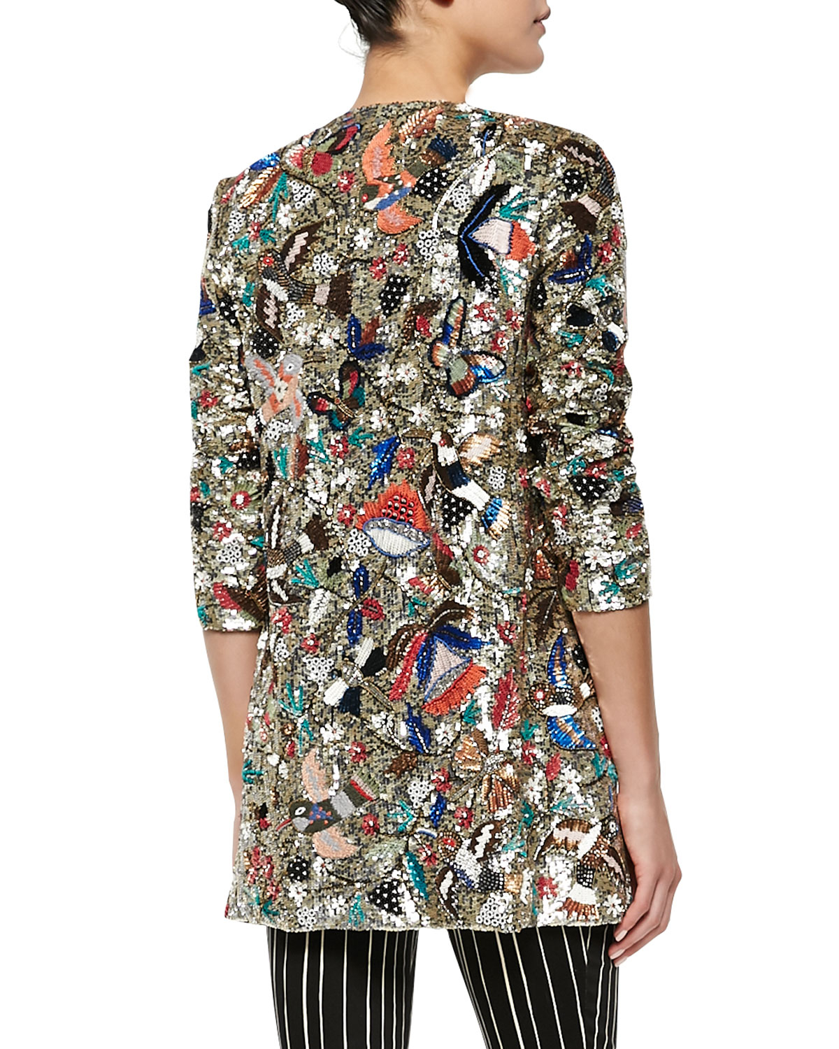 Alice Olivia Rory Beaded Sequined Collarless Jacket In