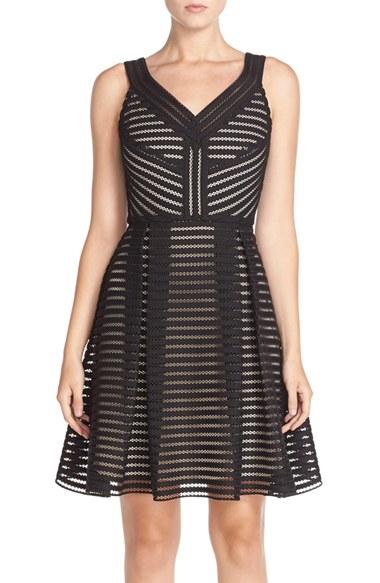 Lyst - Julia Jordan Mesh Fit & Flare Dress in Black