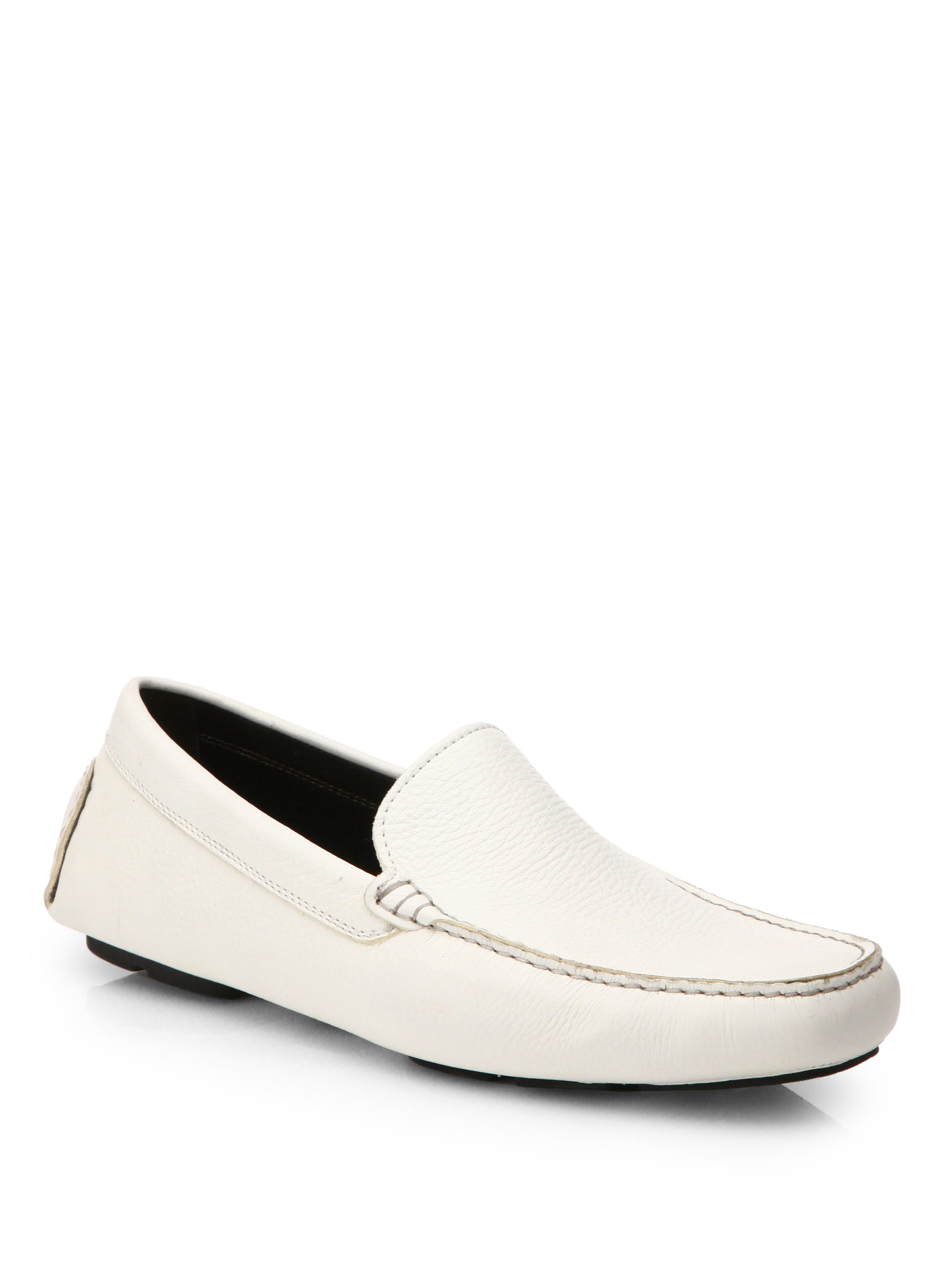 To Boot Pebbled Leather Driving Moccasins In White For Men