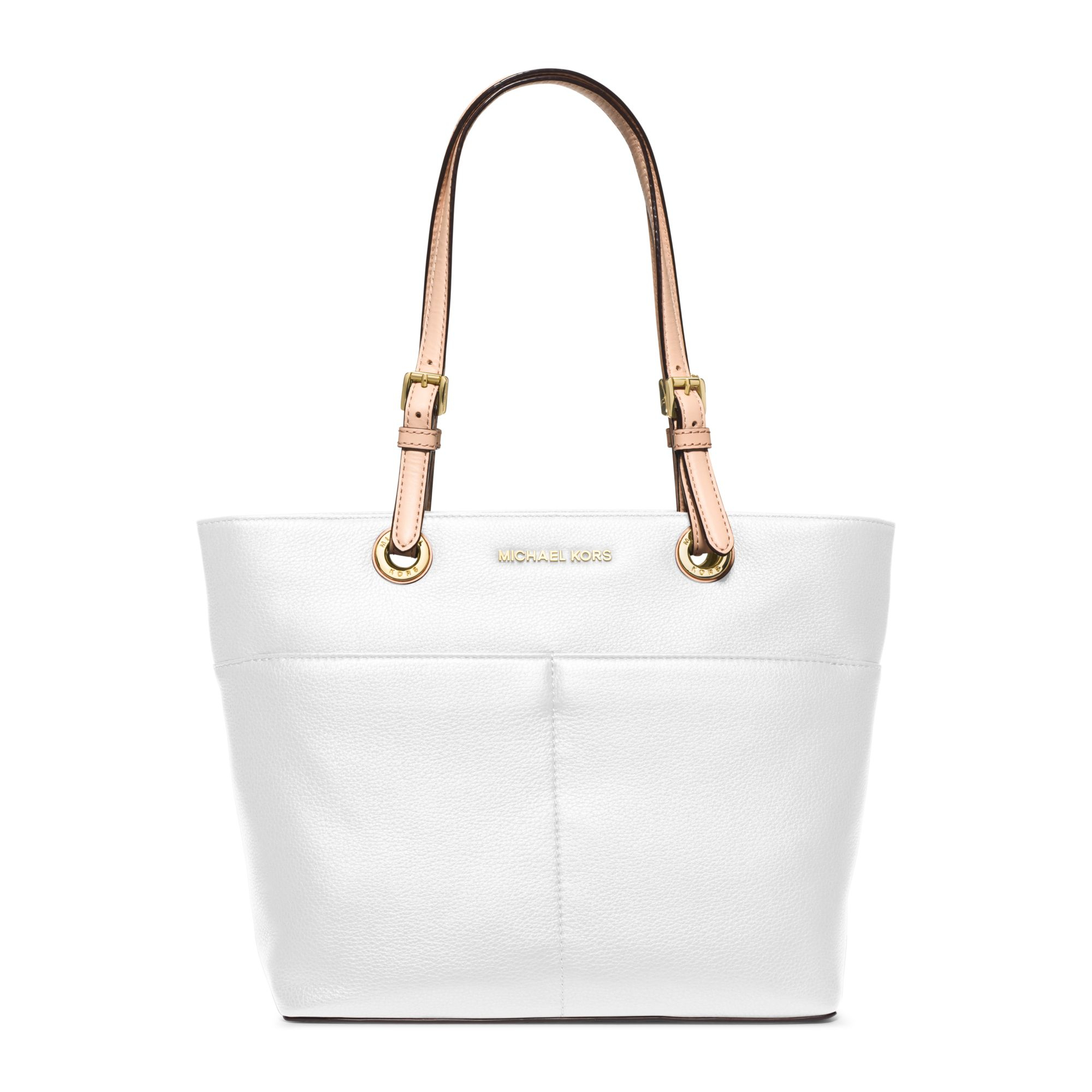 b697fe1f2 Lyst - Michael Kors Bedford Leather Tote in White