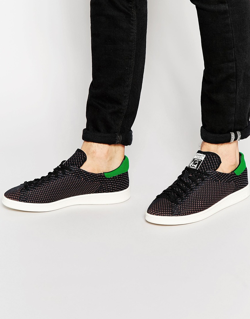 adidas Men's Stan Smith Prime Knit Lace Up Sneakers HxJyM3cgQ