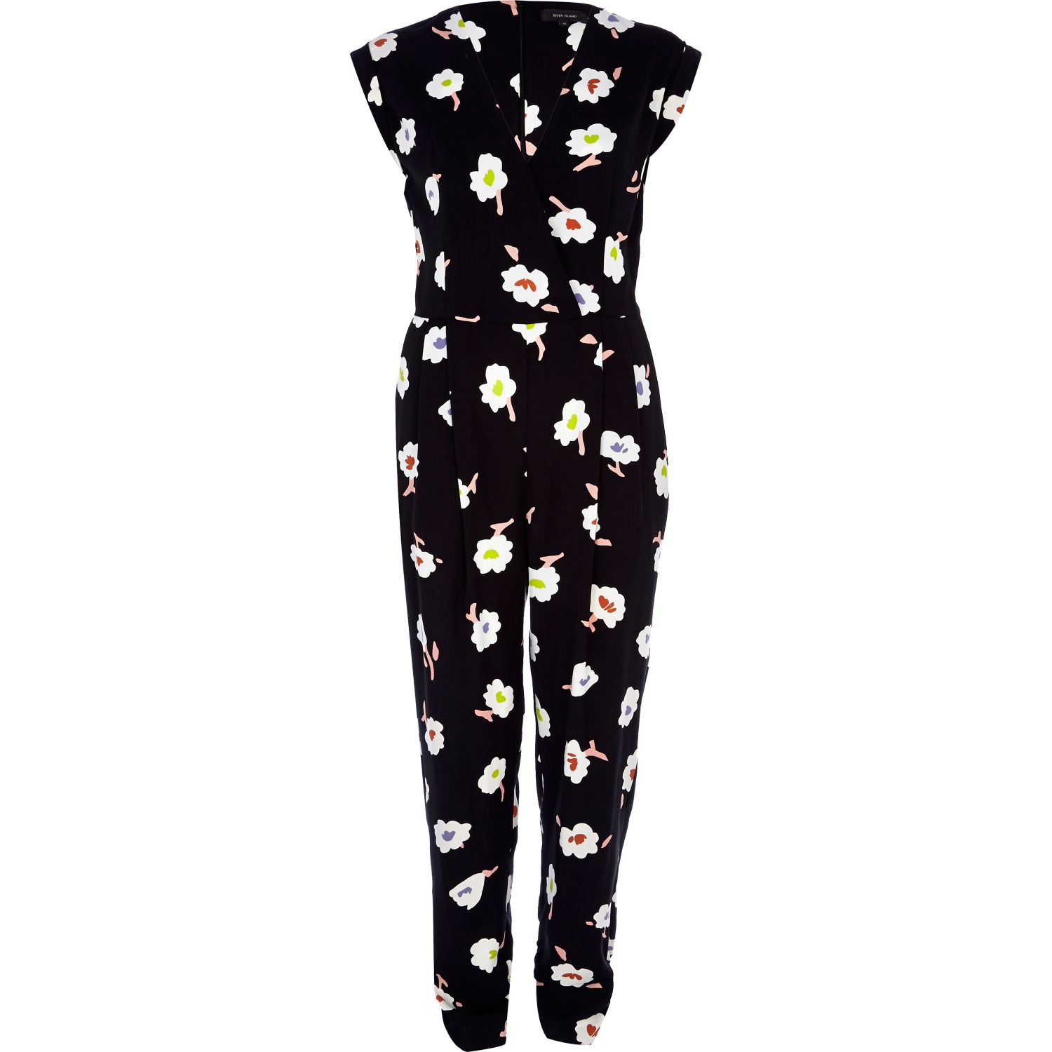 65a4bfc78cb River Island Black Floral Print Jumpsuit in Black - Lyst