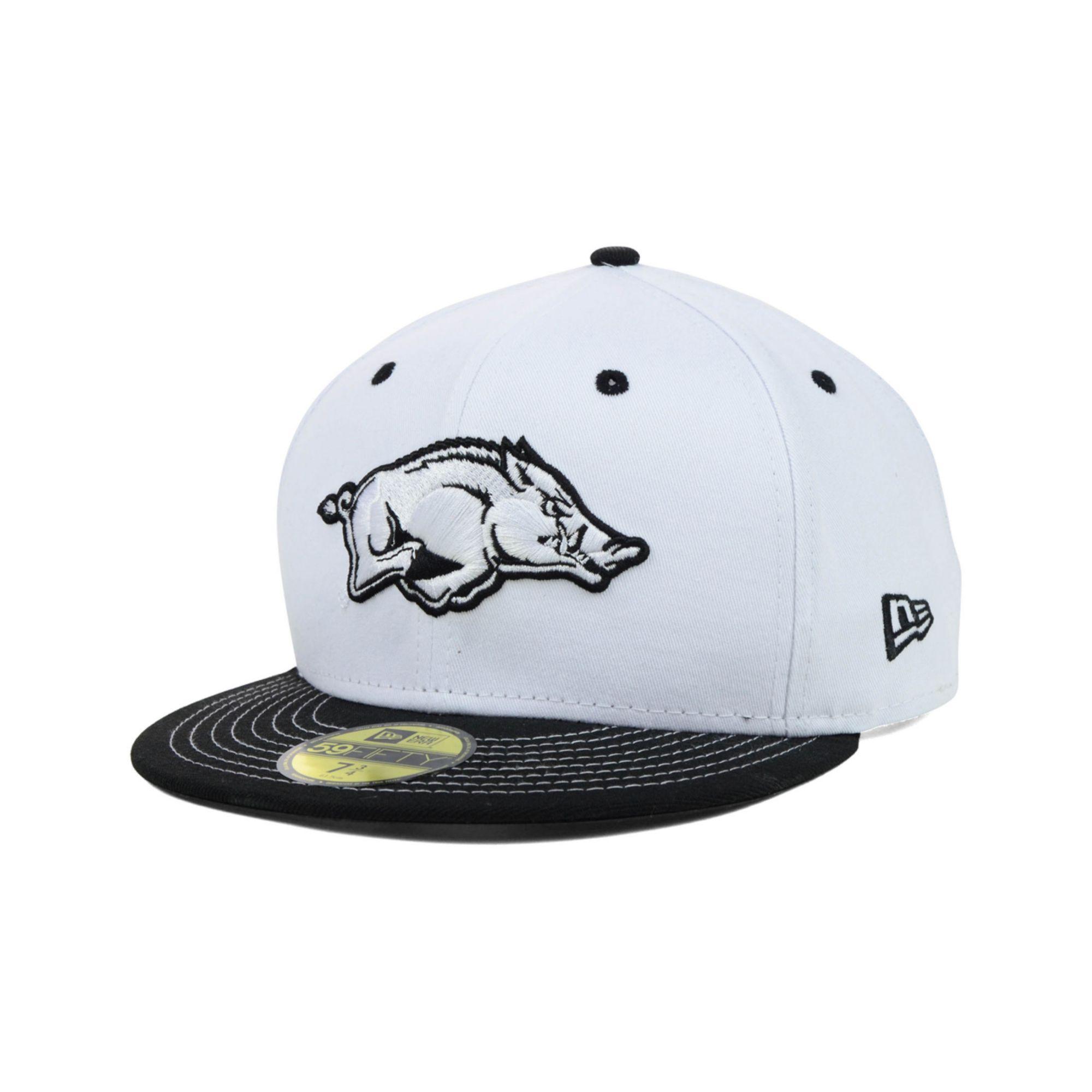 ... official lyst ktz arkansas razorbacks ncaa white black 59fifty cap in  white for men 926a2 10201 c186267e669