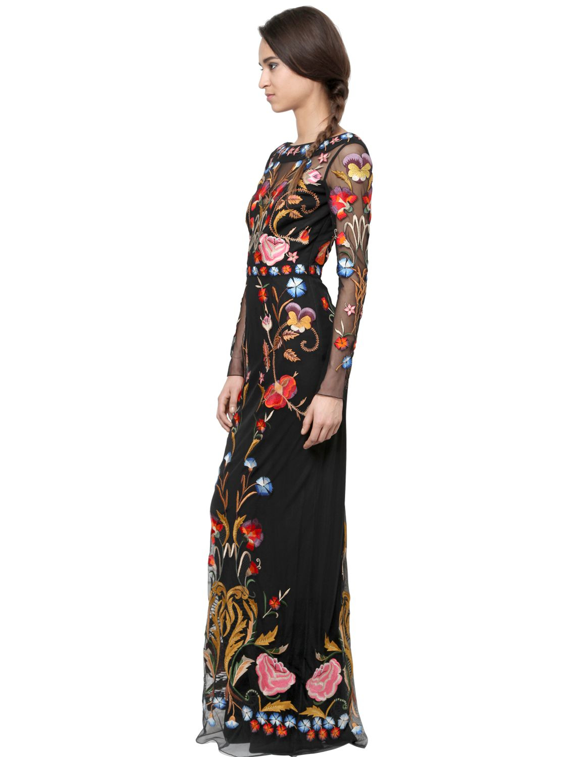 Lyst Temperley London Flowers Embroidered On Tulle Dress