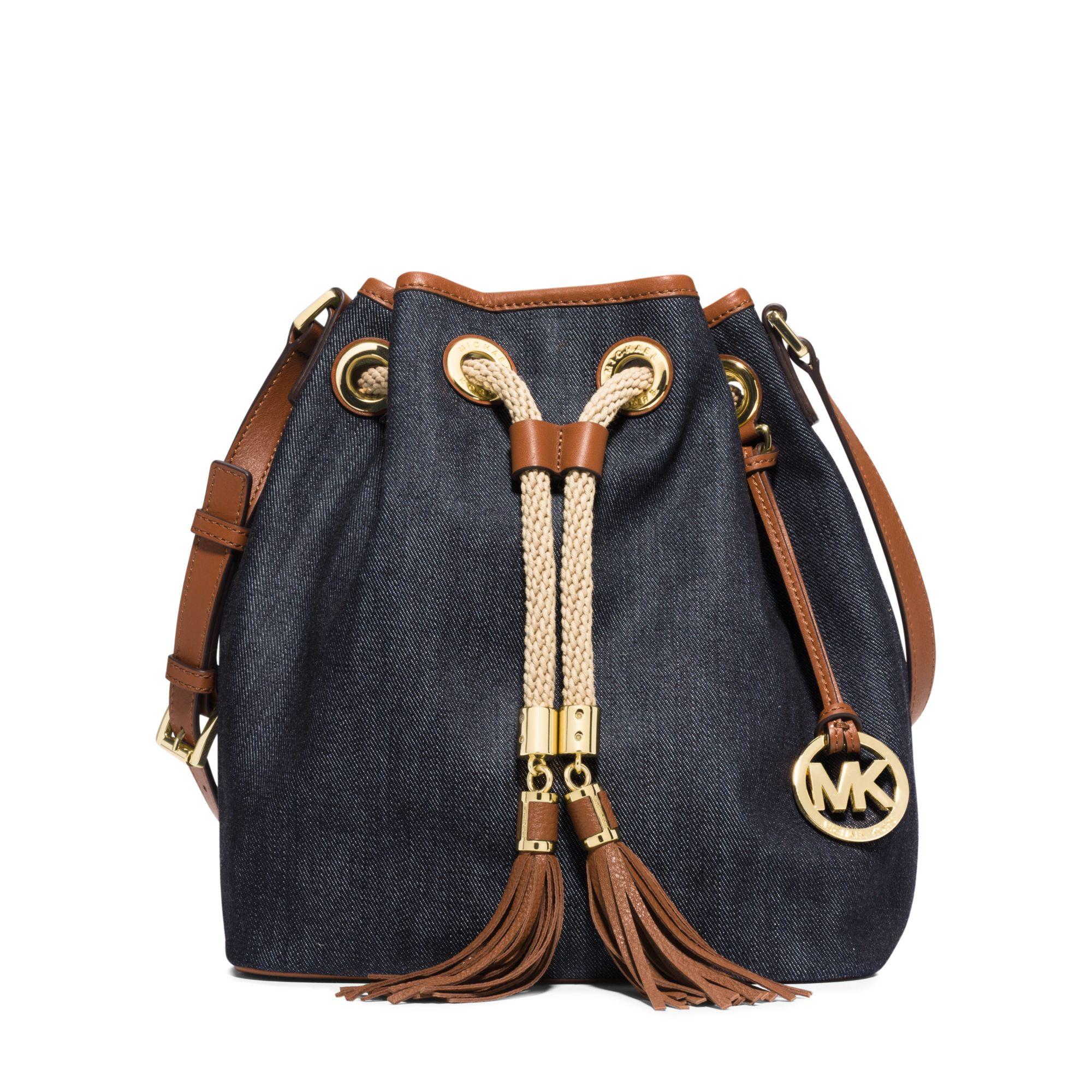 lyst michael kors marina large denim shoulder bag in blue rh lyst com