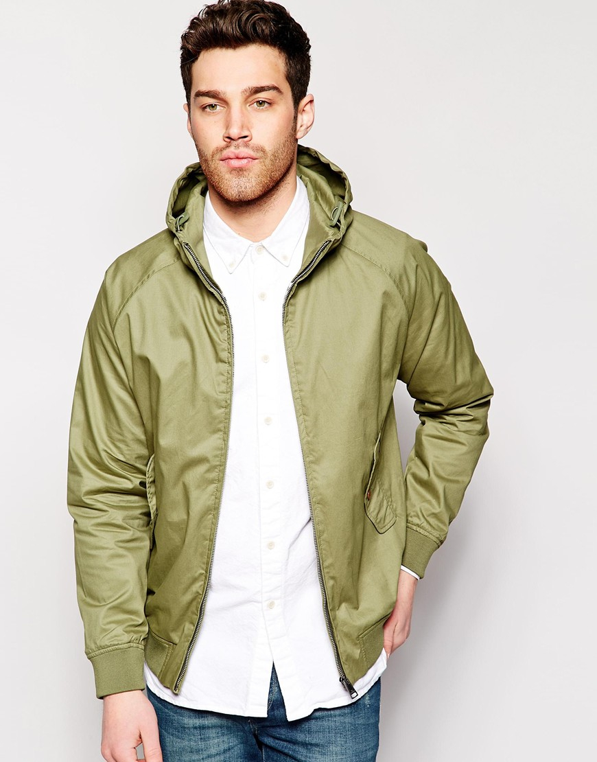 ben sherman harrington jacket with hood in green for men lyst. Black Bedroom Furniture Sets. Home Design Ideas
