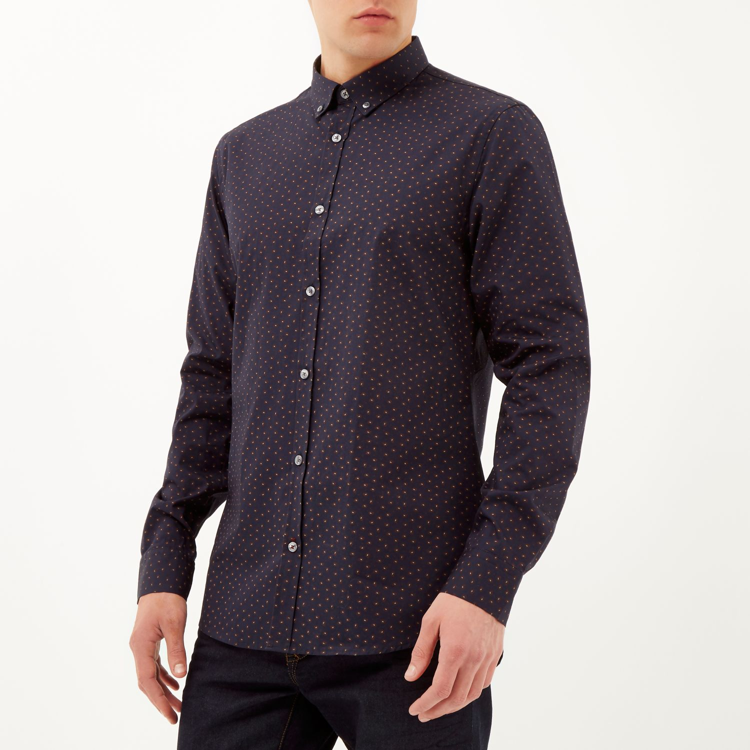 River island navy long sleeve paisley print shirt in blue for Print long sleeve shirt