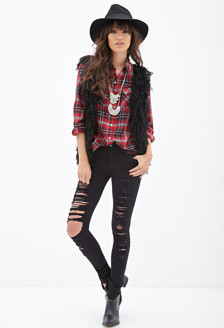 Forever 21 Low-rise - Ripped Skinny Jeans in Black | Lyst