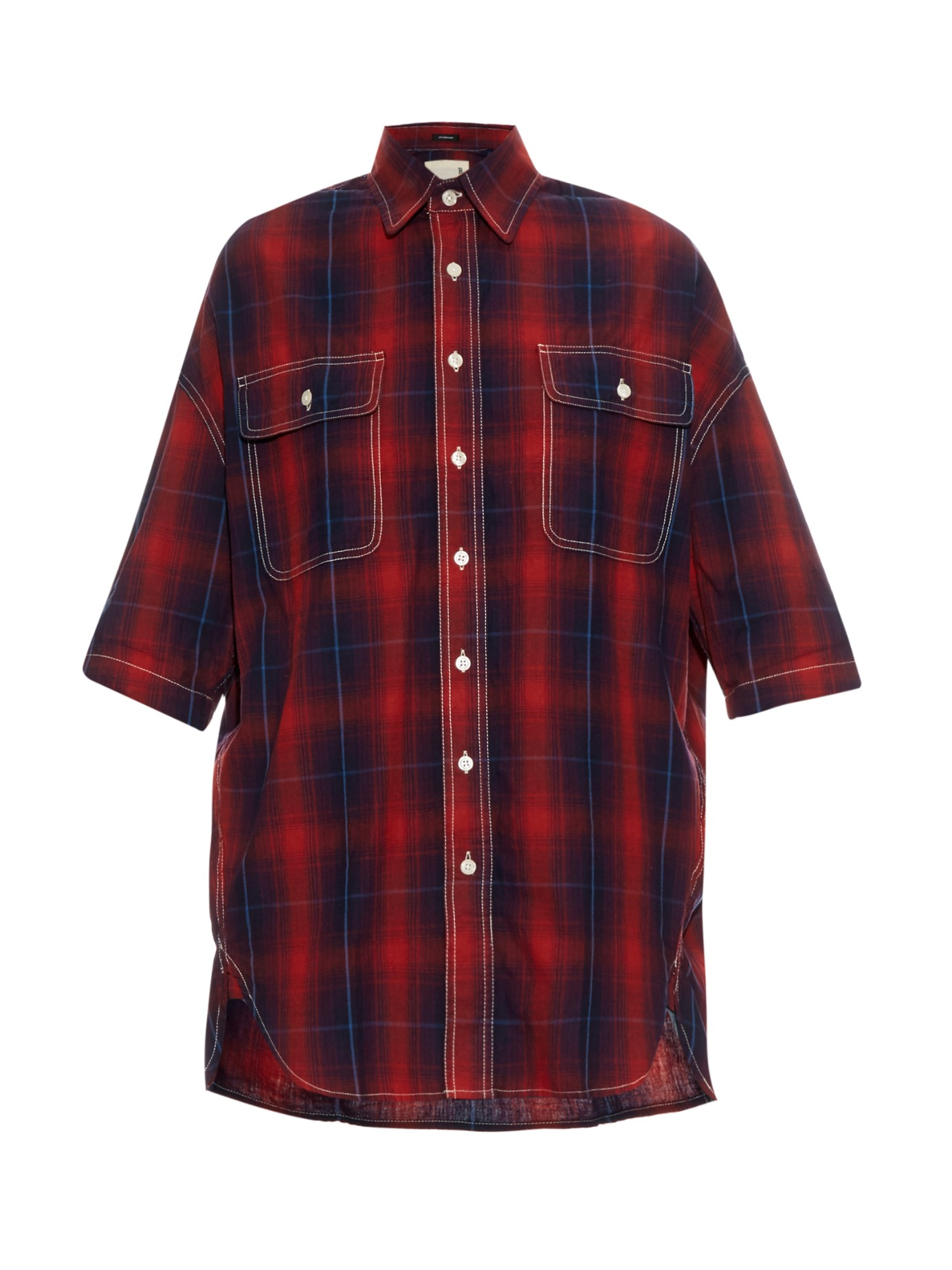 R13 X Oversized Cotton And Linen Blend Plaid Shirt In