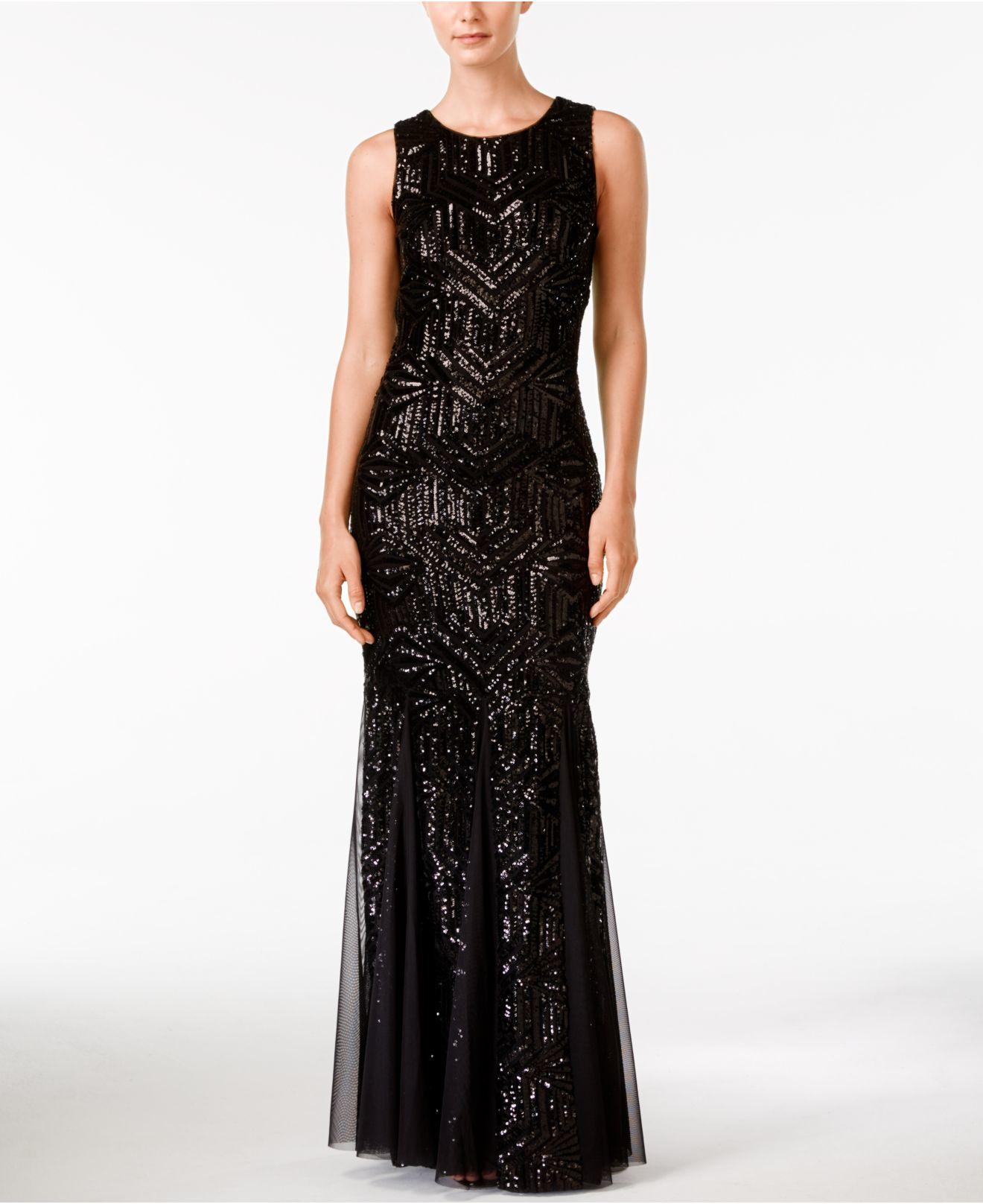 9916c916fe49 Calvin Klein Sequined Sleeveless Mermaid Gown in Black - Lyst