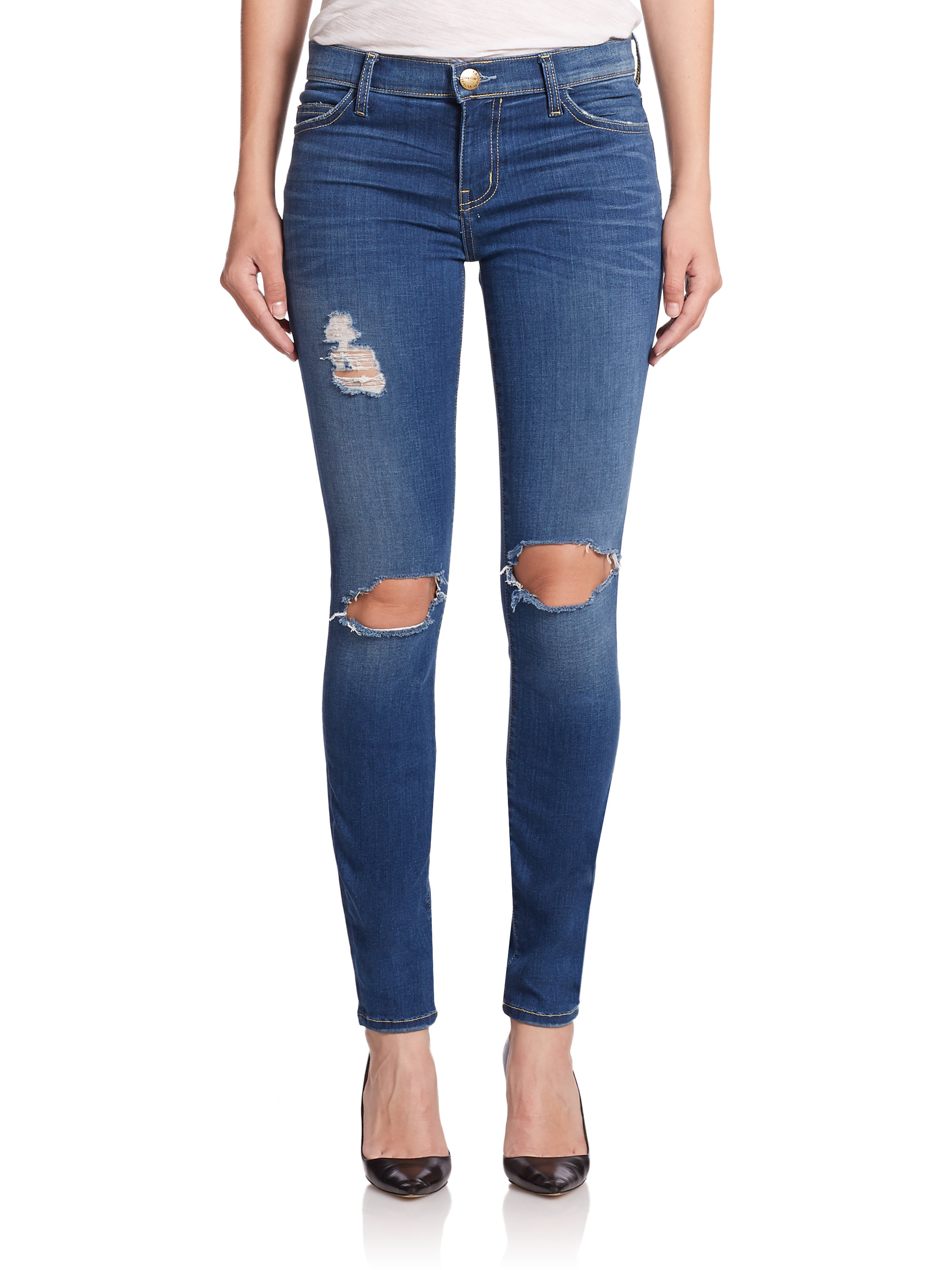Current/elliott The Distressed Ankle Skinny Jeans in Blue   Lyst